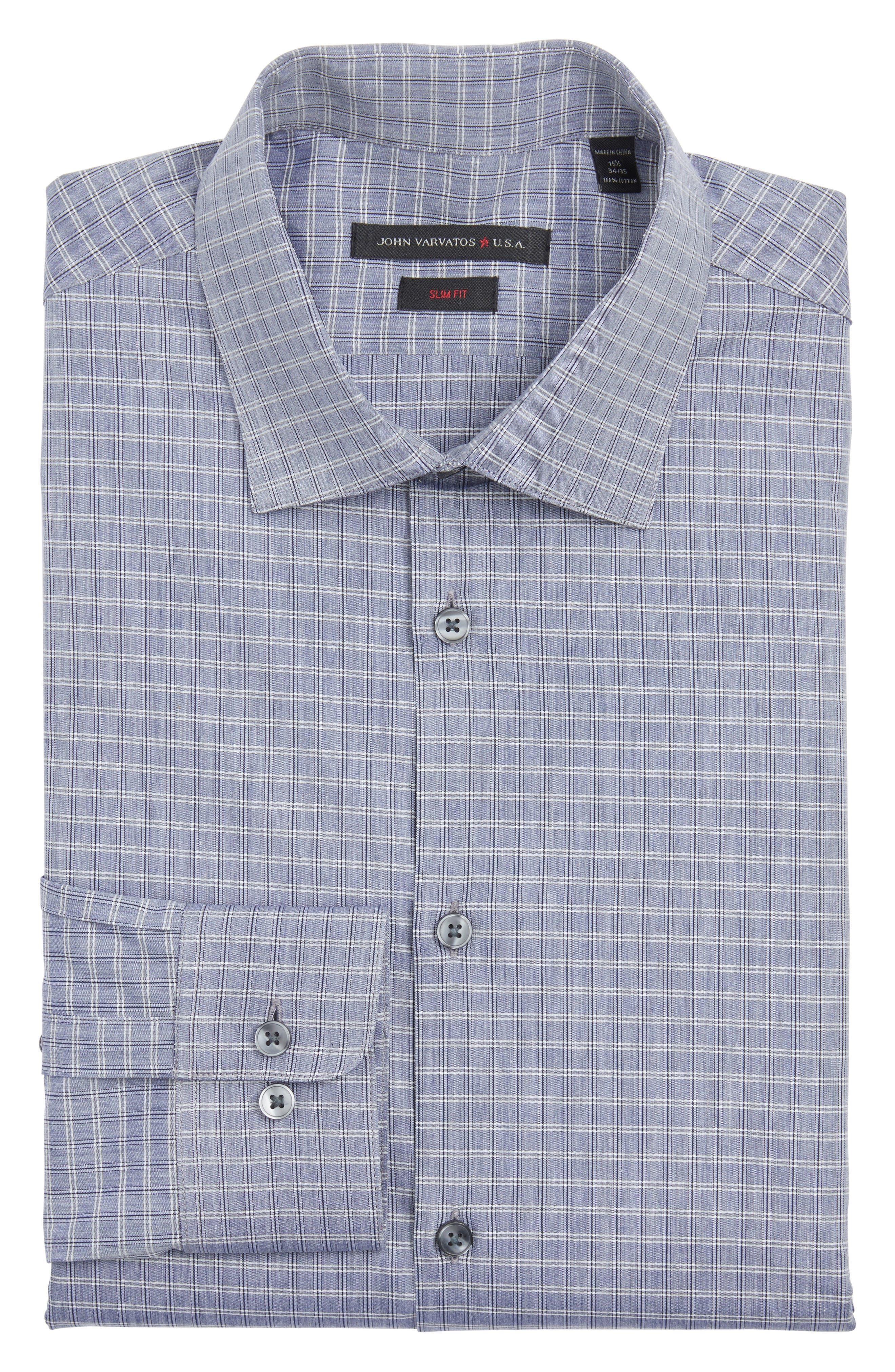 JOHN VARVATOS STAR USA Slim Fit Plaid Dress Shirt
