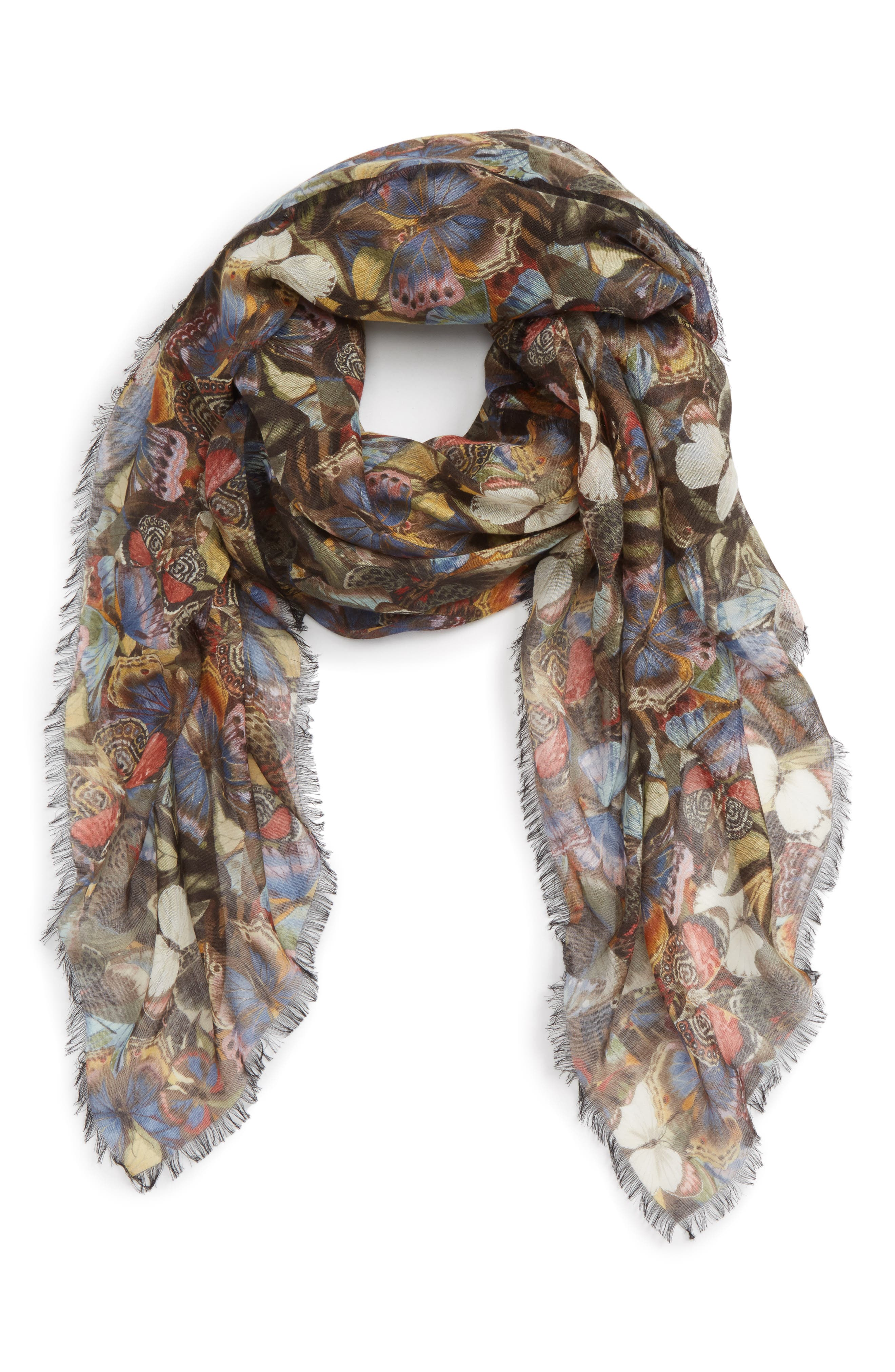 Butterfly Cashmere & Silk Scarf,                             Alternate thumbnail 2, color,                             Multicolor