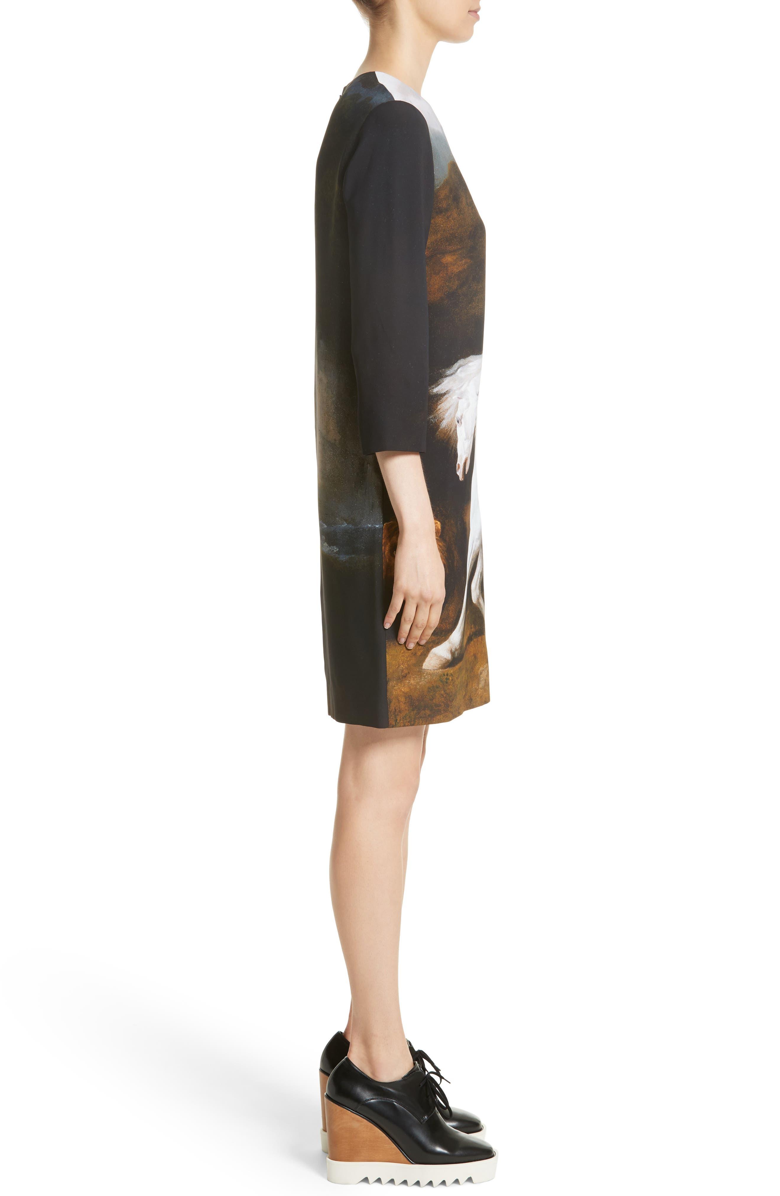 Kira Horse Print Dress,                             Alternate thumbnail 3, color,                             Black