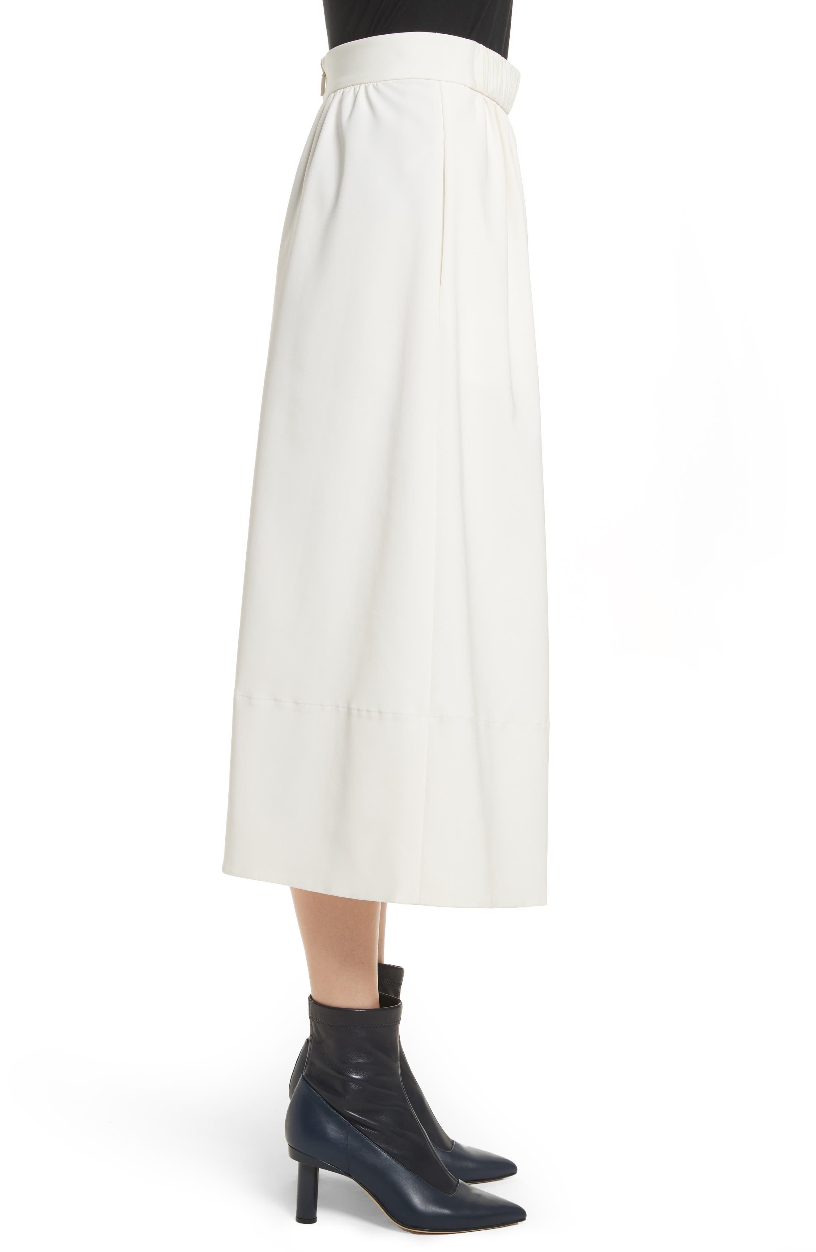 Stretch Faille Full Midi Skirt,                             Alternate thumbnail 3, color,                             Ivory