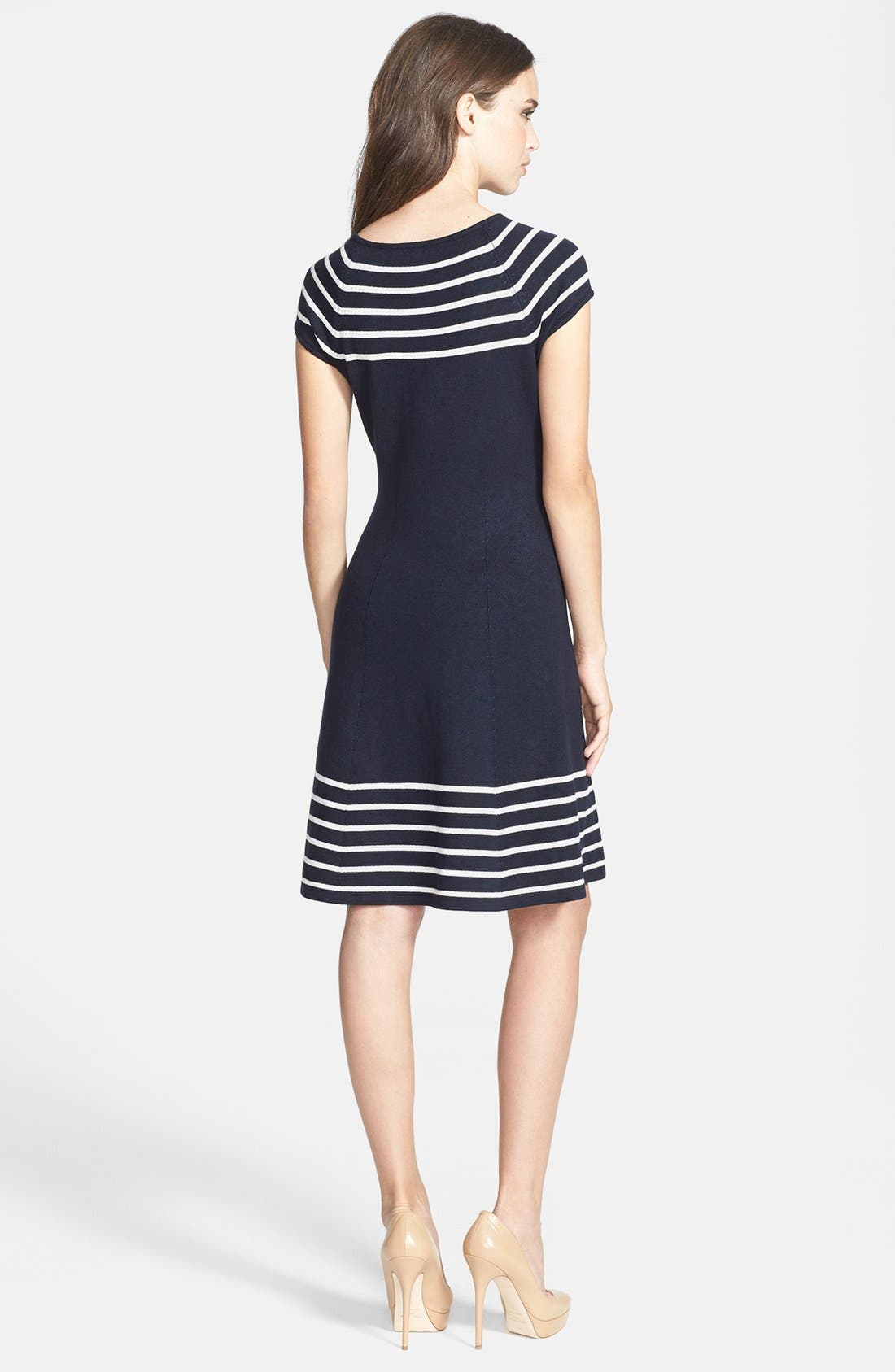 Alternate Image 2  - Eliza J Stripe Knit Flared Dress