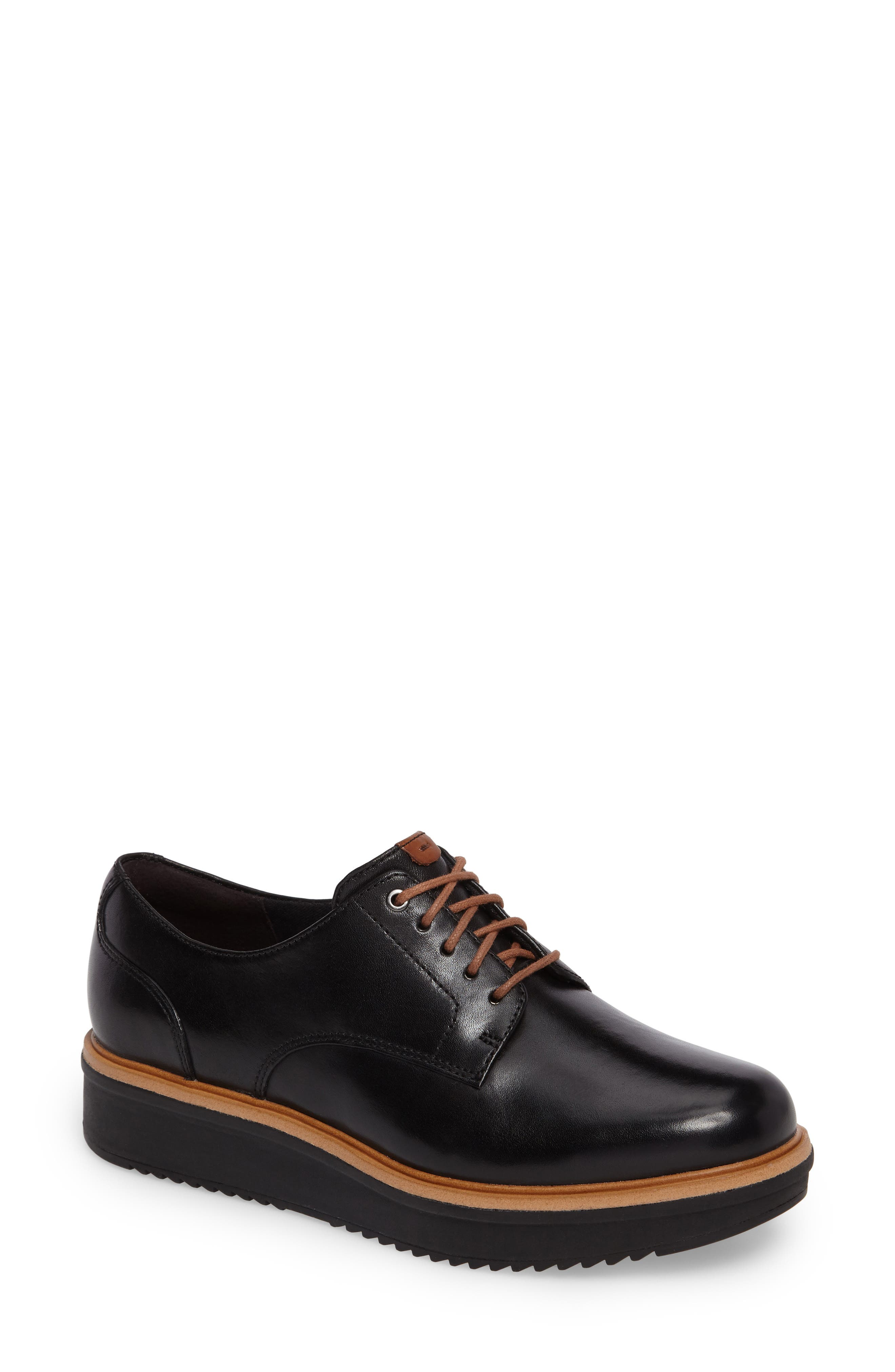 Teadale Rhea Platform Oxford,                         Main,                         color, Black Leather