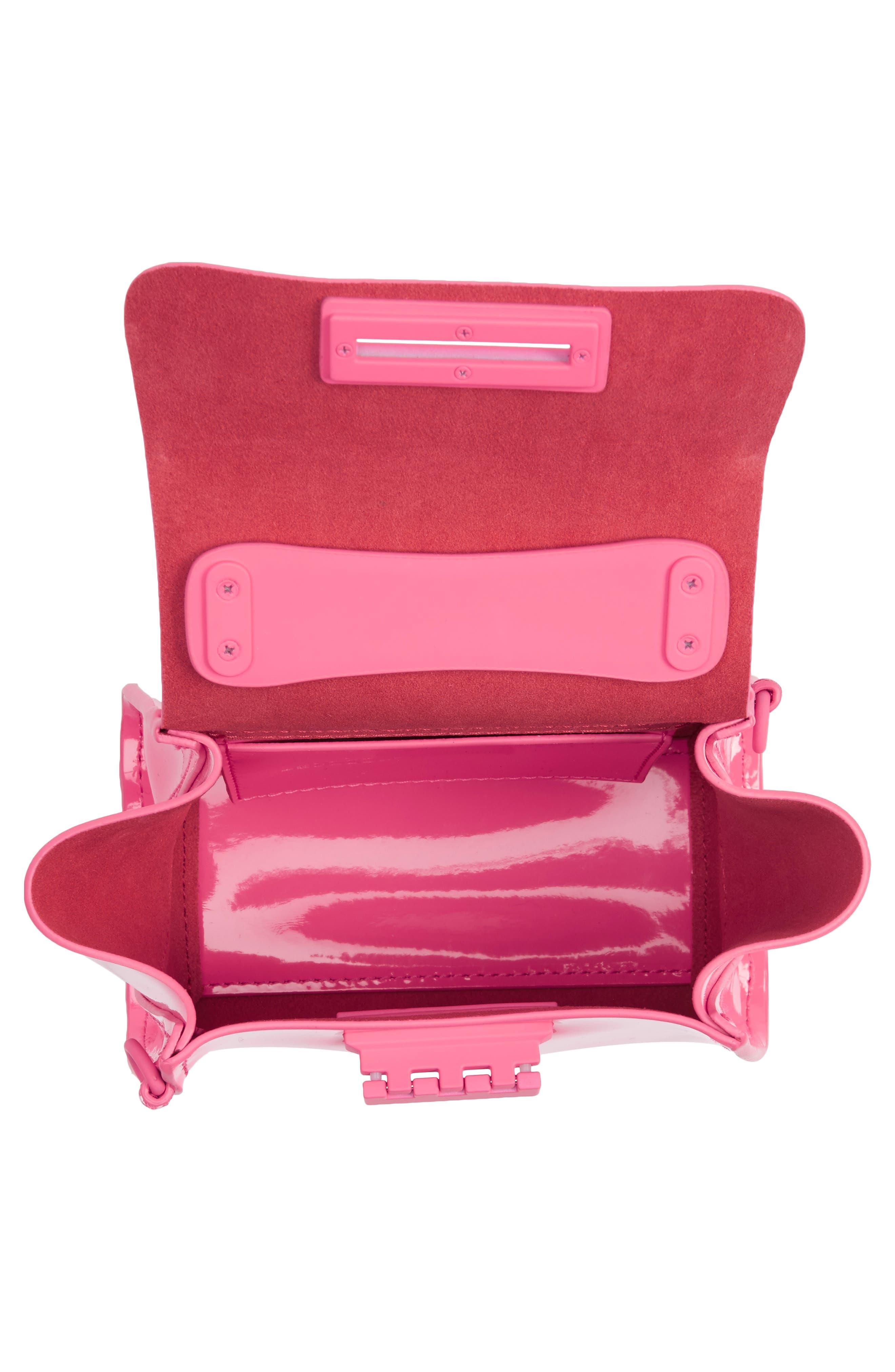 Eartha Iconic Patent Leather Mini Bag,                             Alternate thumbnail 3, color,                             Neon Pink