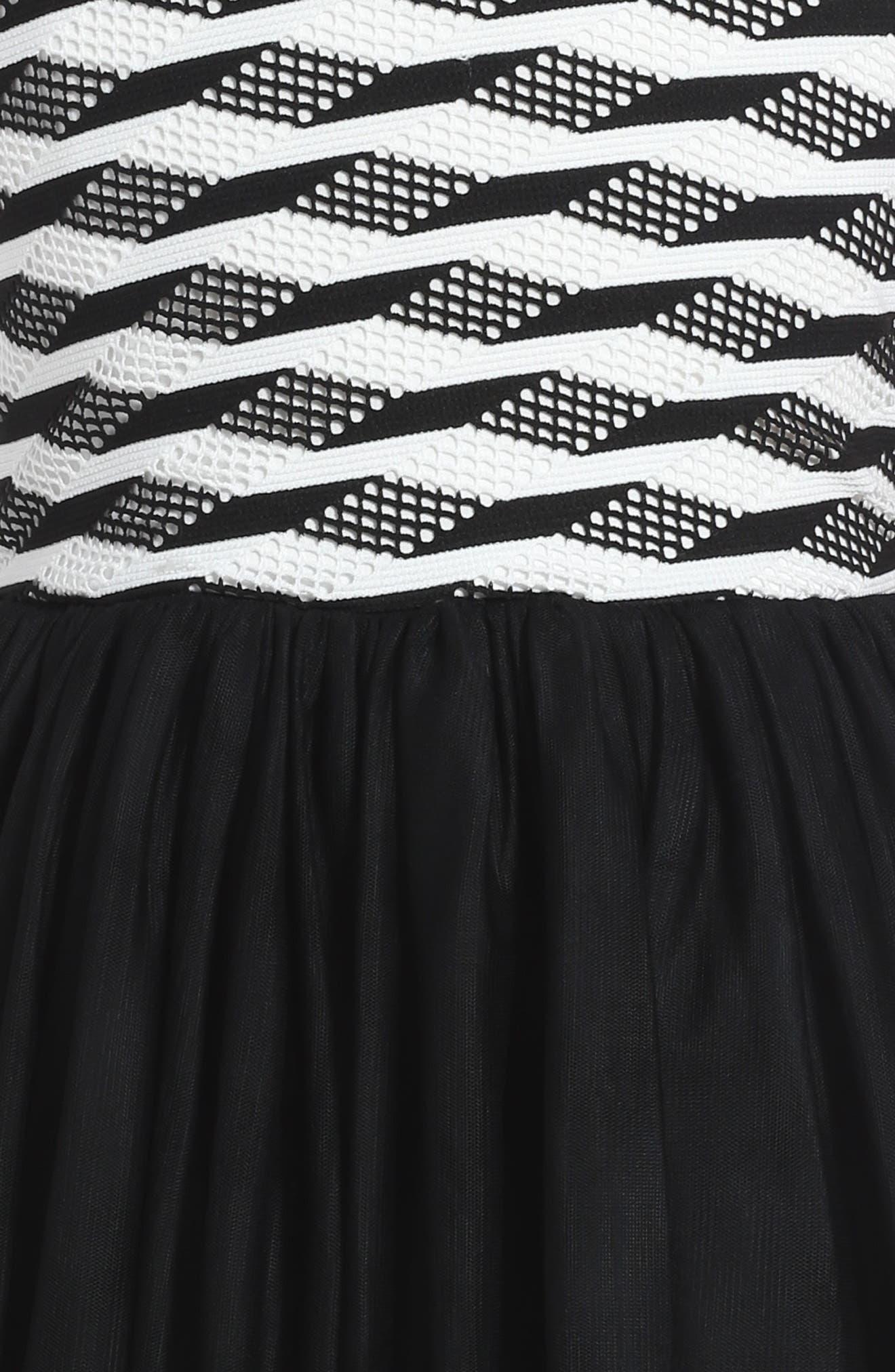 Stripe Tutu Dress,                             Alternate thumbnail 3, color,                             Black/ White