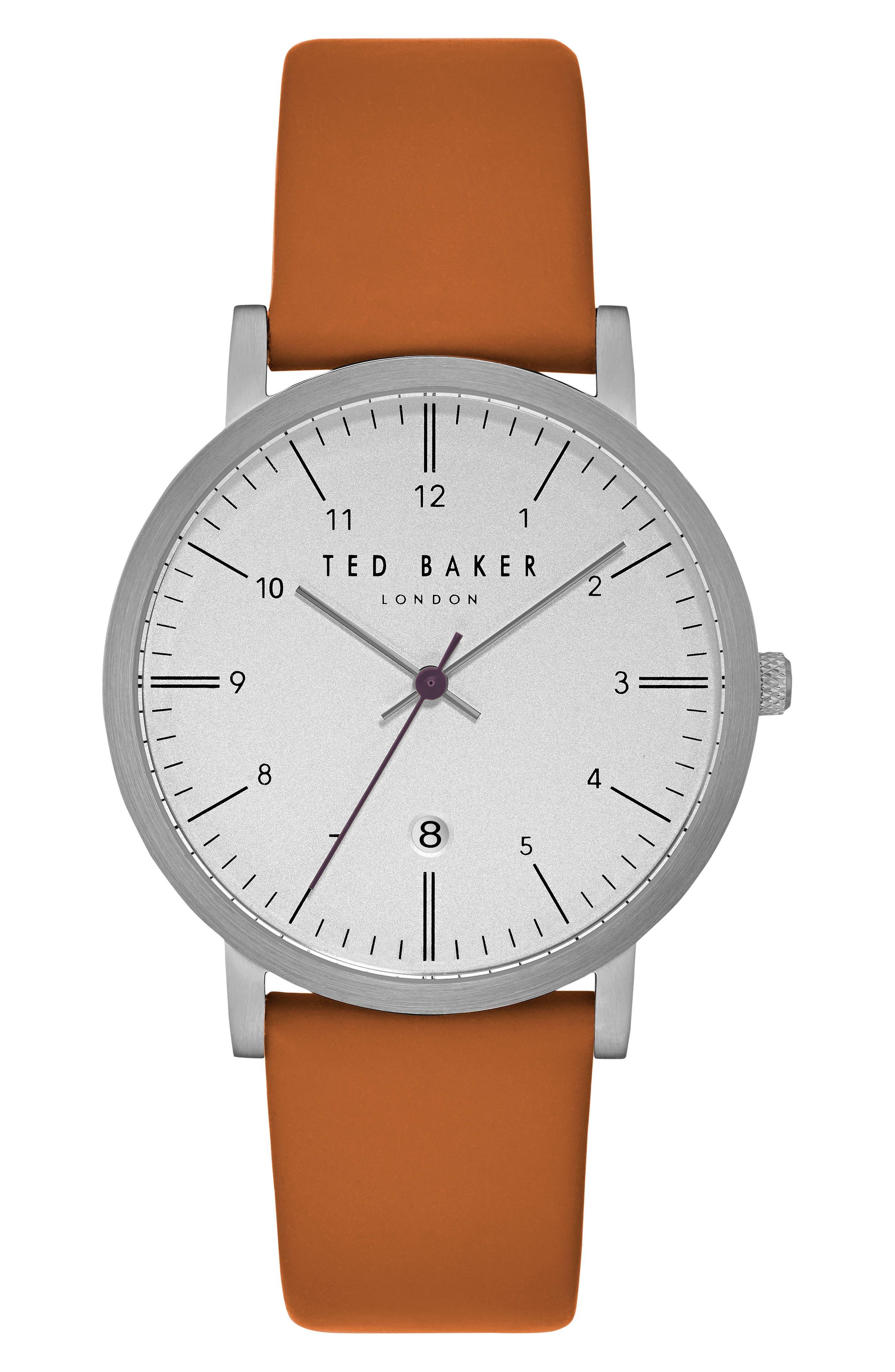 Samuel Slim Leather Strap Watch, 40mm,                         Main,                         color, Orange/ Light Grey