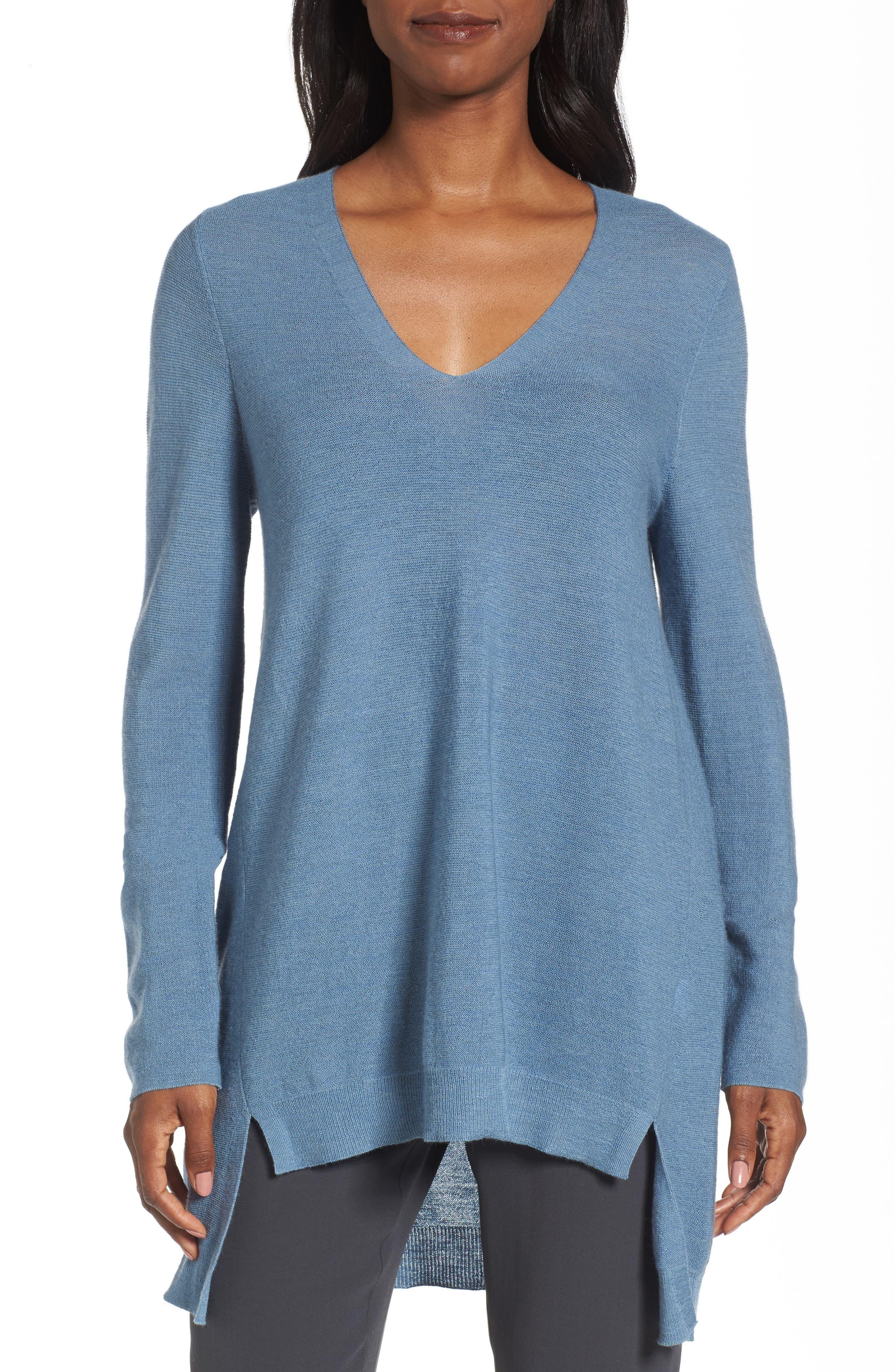 Alternate Image 1 Selected - Eileen Fisher High/Low Merino Wool Sweater