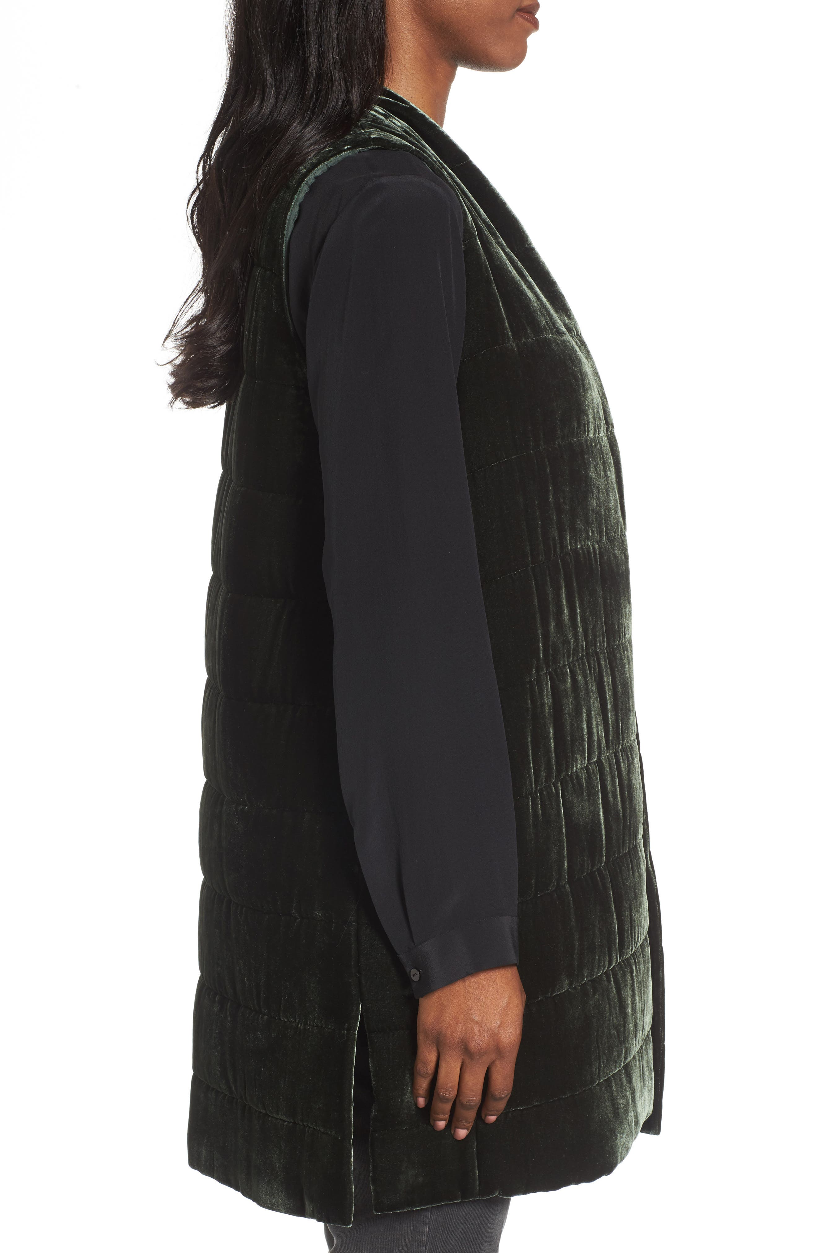 Alternate Image 3  - Eileen Fisher Long Quilted Velvet Vest