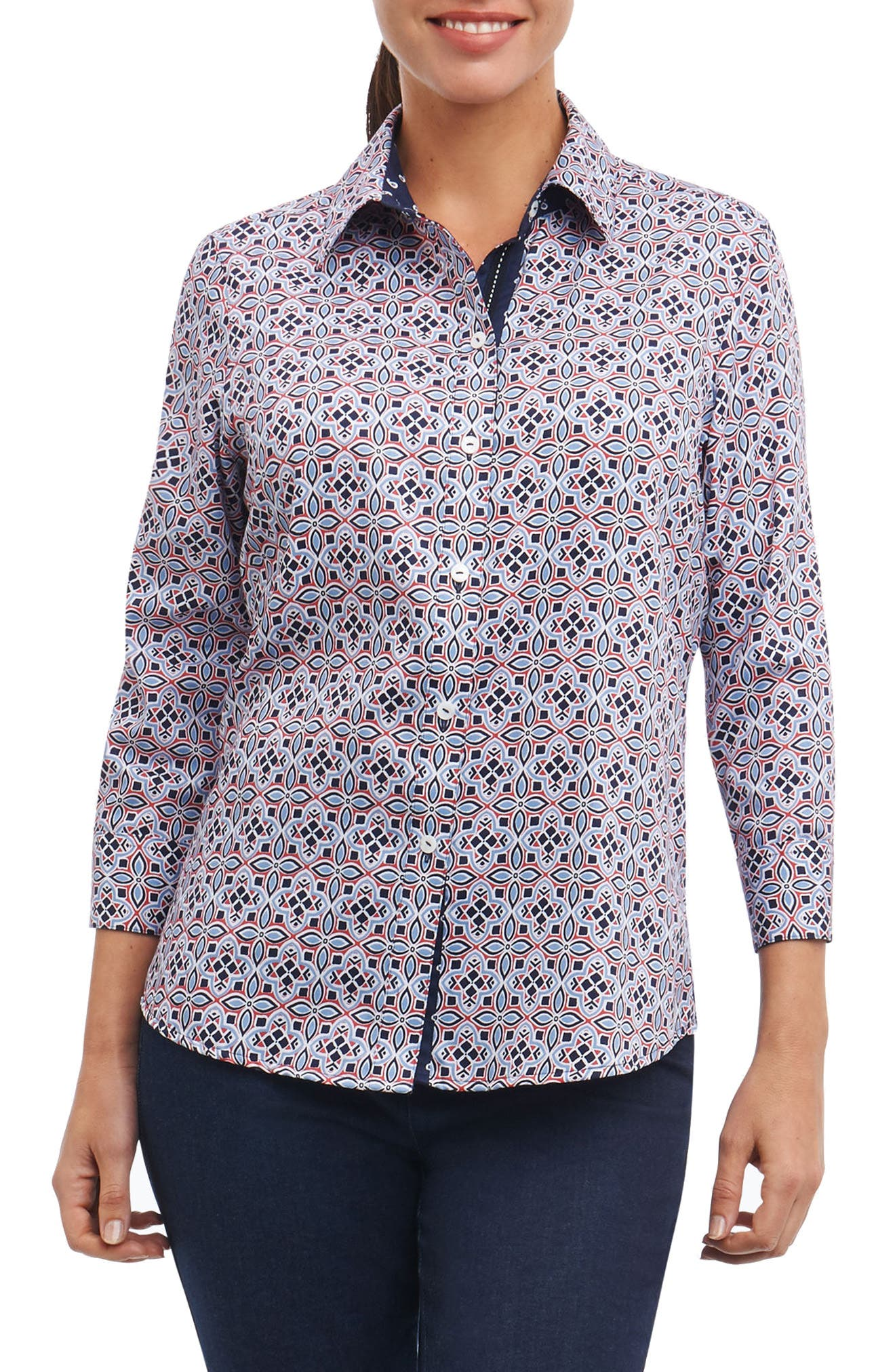 Ava Non-Iron Tile Print Cotton Shirt,                             Alternate thumbnail 3, color,                             Multi