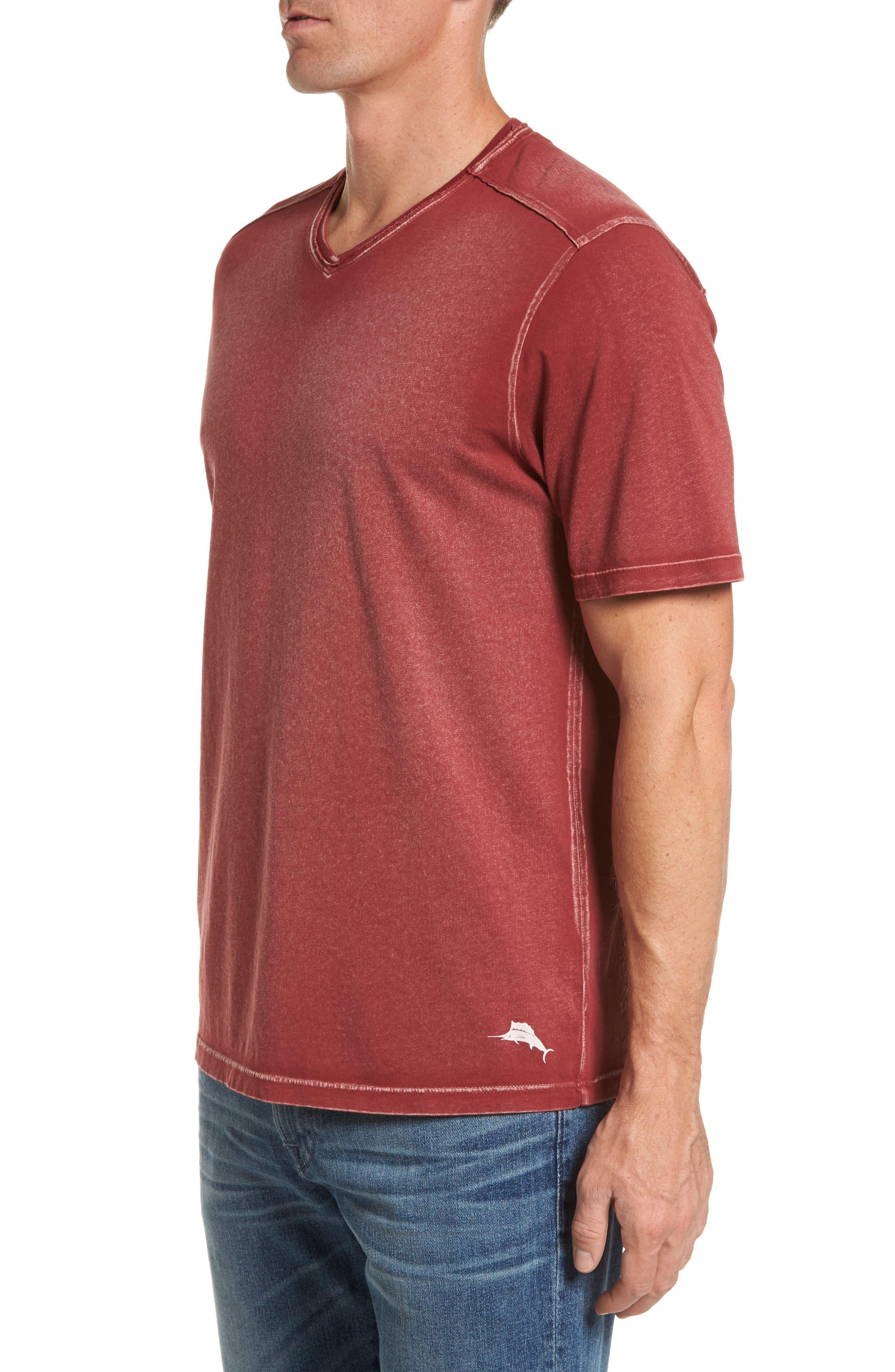 'Kahuna' V-Neck T-Shirt,                             Alternate thumbnail 3, color,                             Ruby Wine