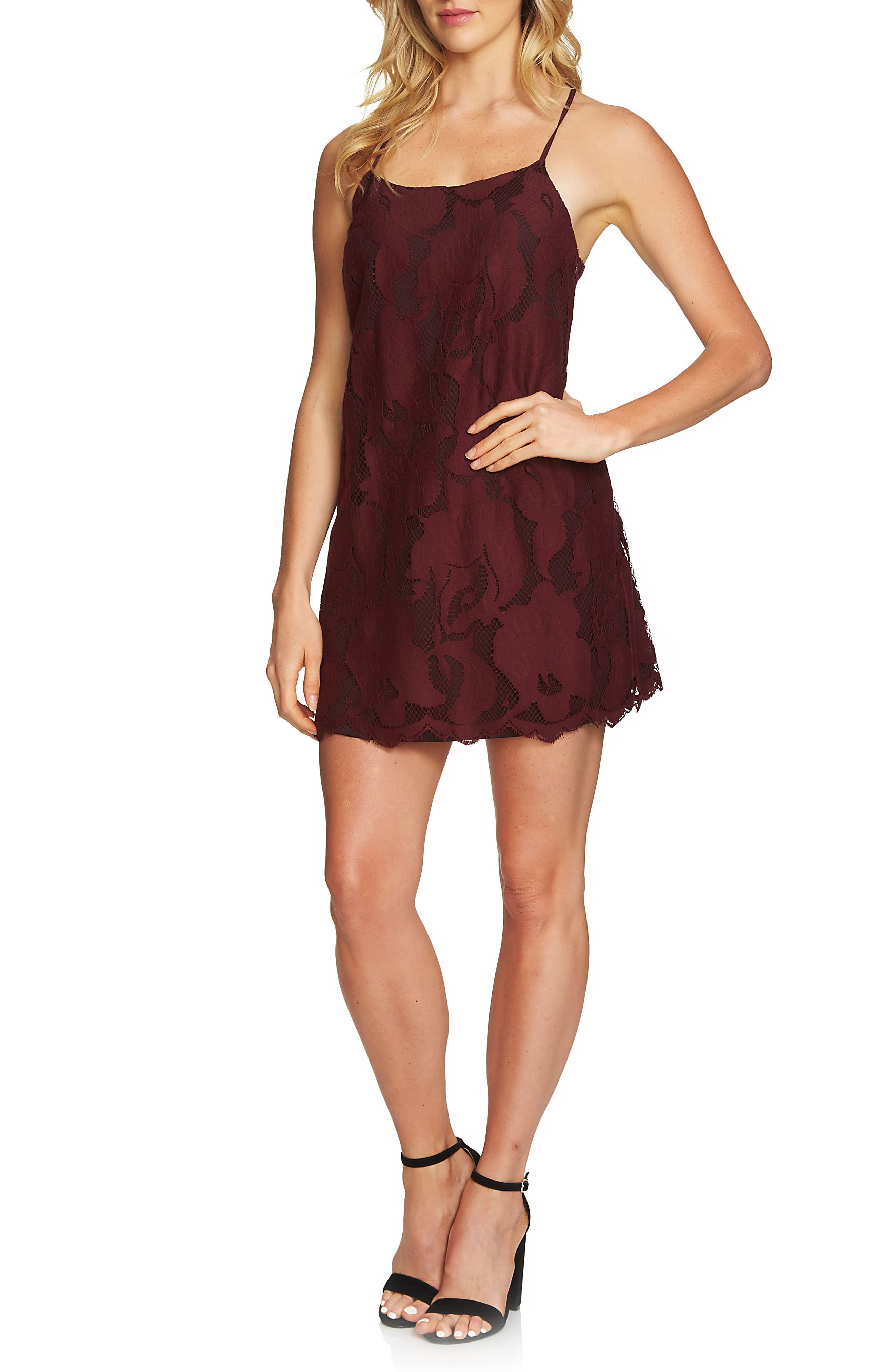 1.STATE Floral Lace Racerback Shift Dress