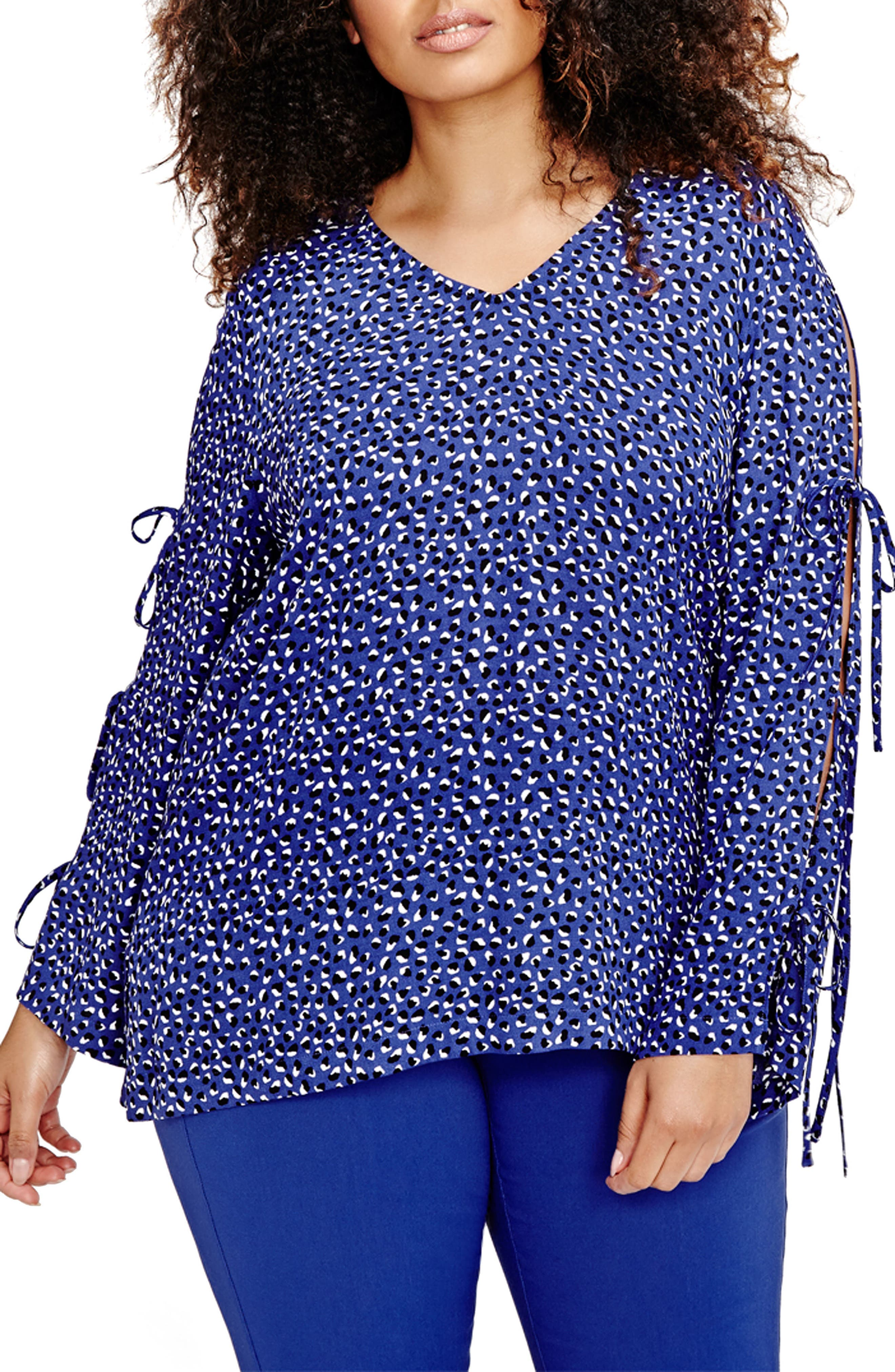 Tie Sleeve Cold Shoulder Blouse,                         Main,                         color, Clematis Blue Combo