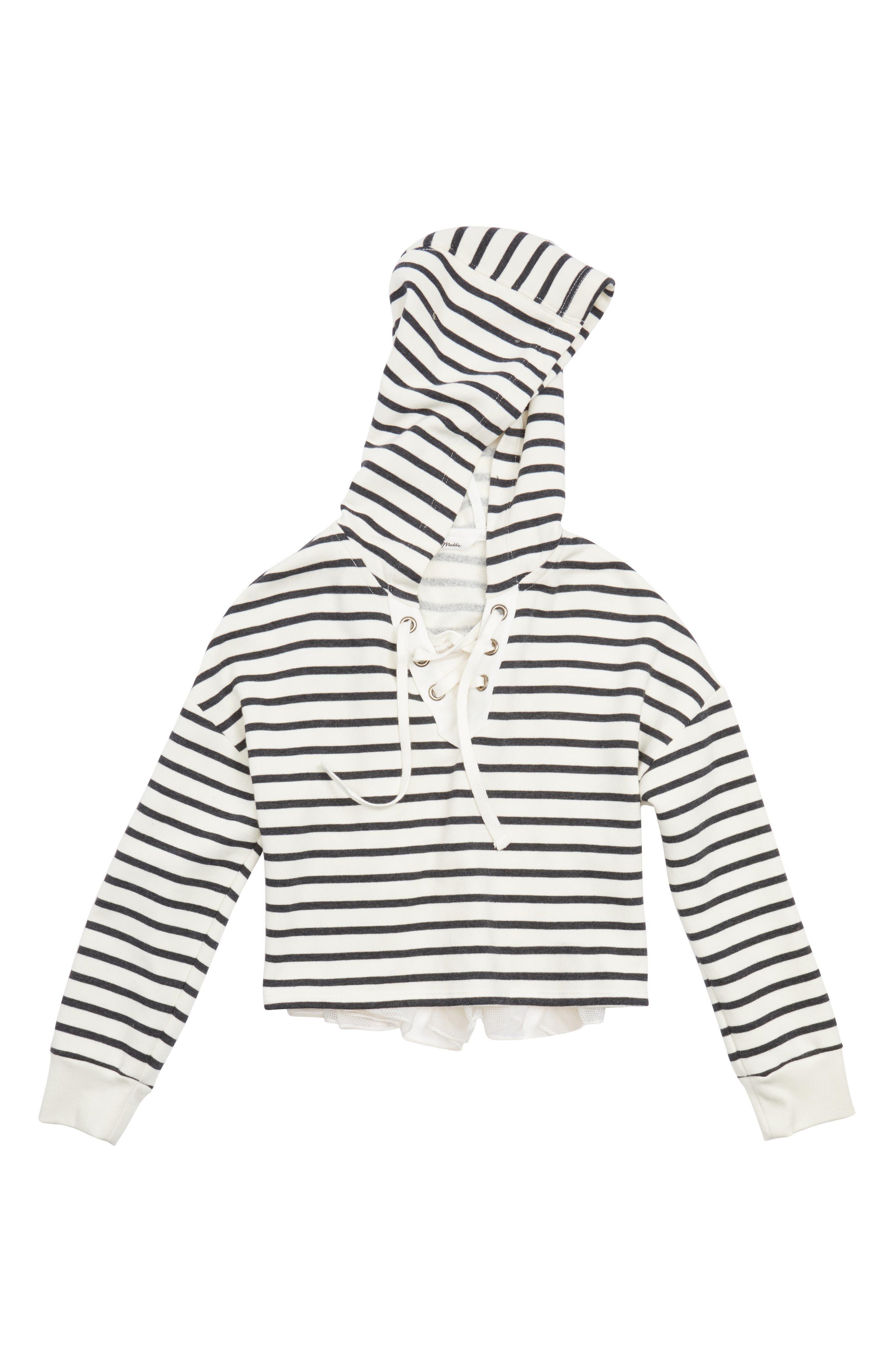Stripe Crop Hooded Sweatshirt with Back Ruffle,                             Main thumbnail 1, color,                             White/ Black
