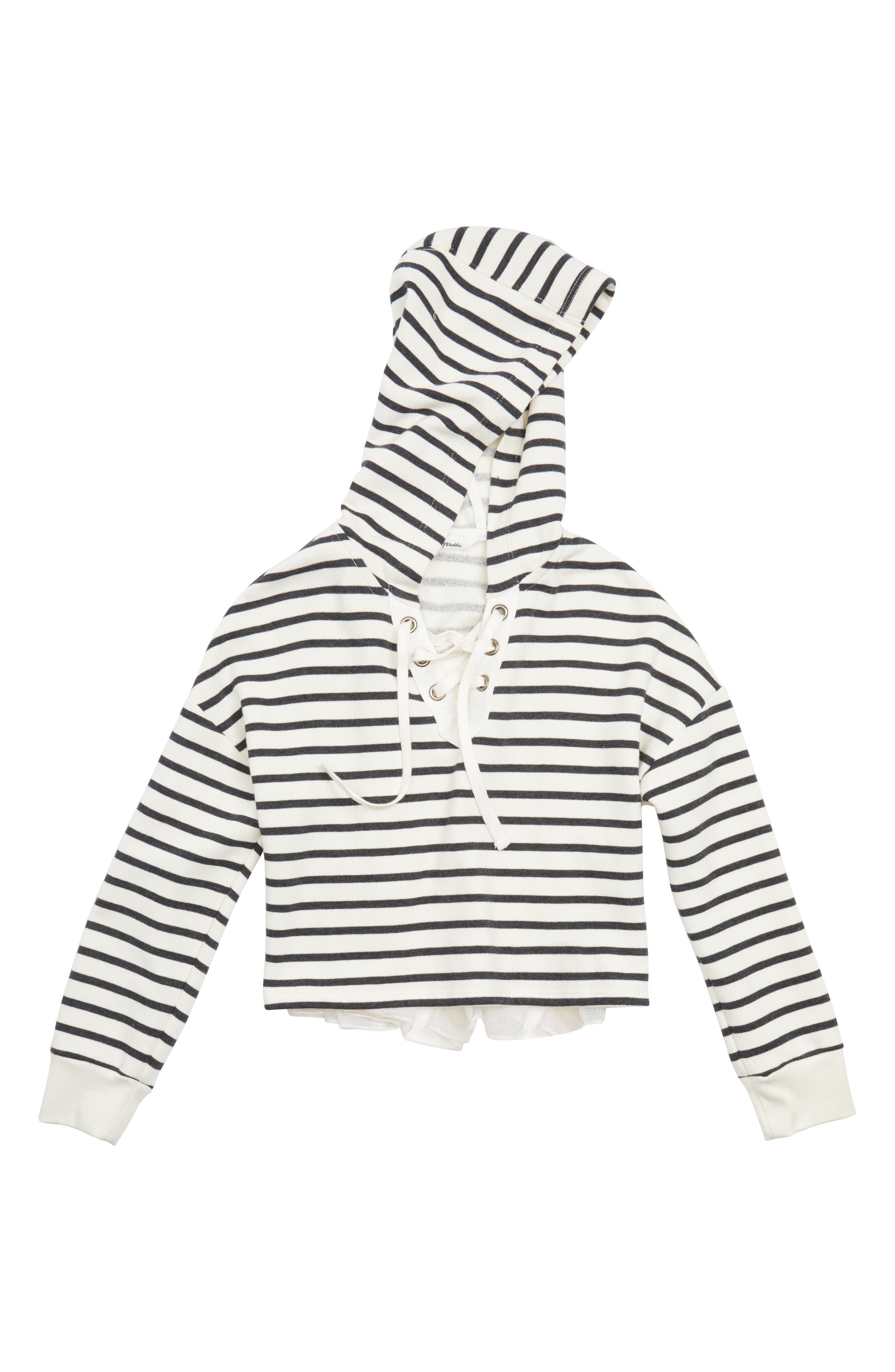 Main Image - Maddie Stripe Crop Hooded Sweatshirt with Back Ruffle (Big Girls)
