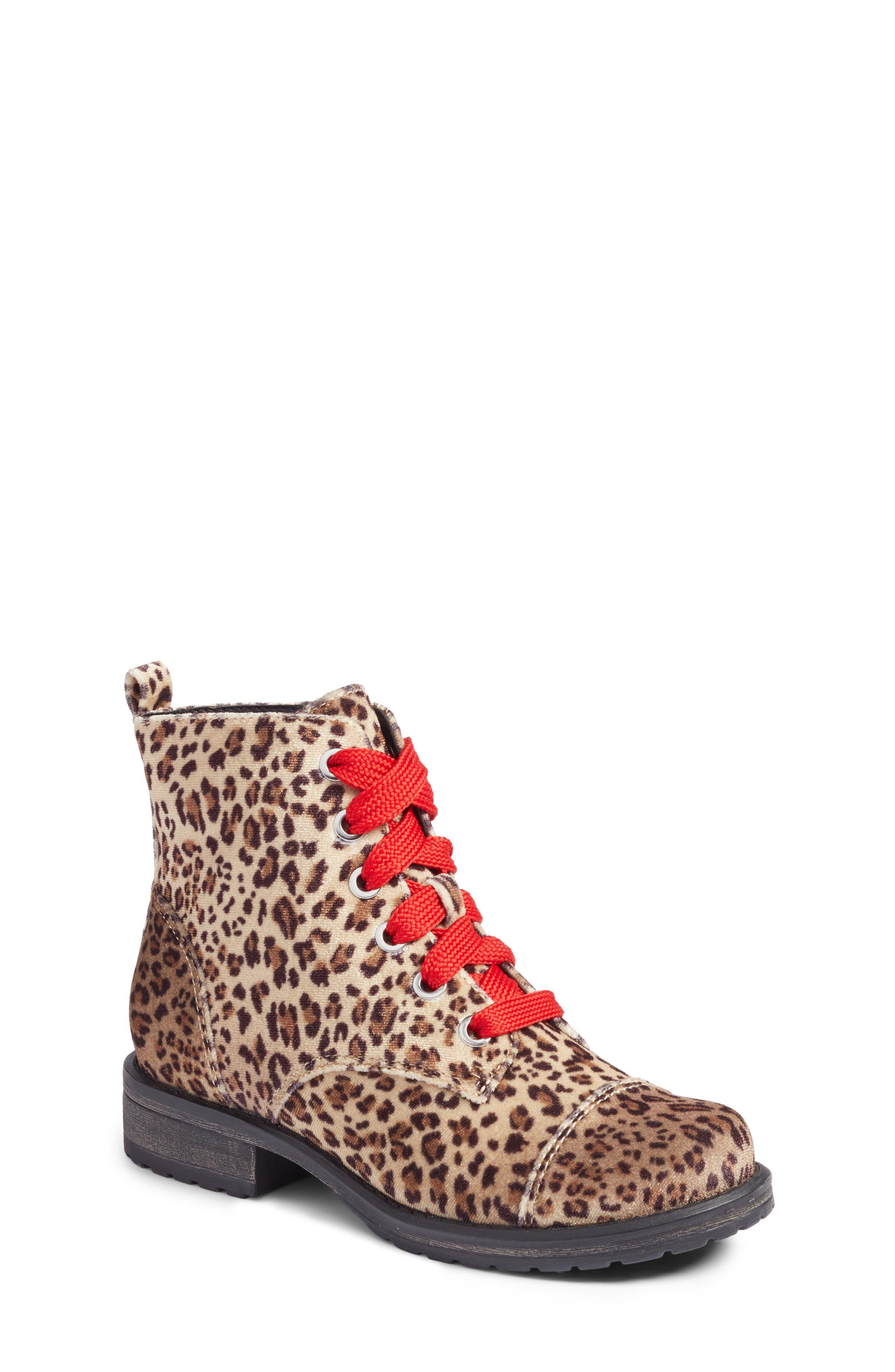 Lilla Combat Boot,                         Main,                         color, Leopard Velvet
