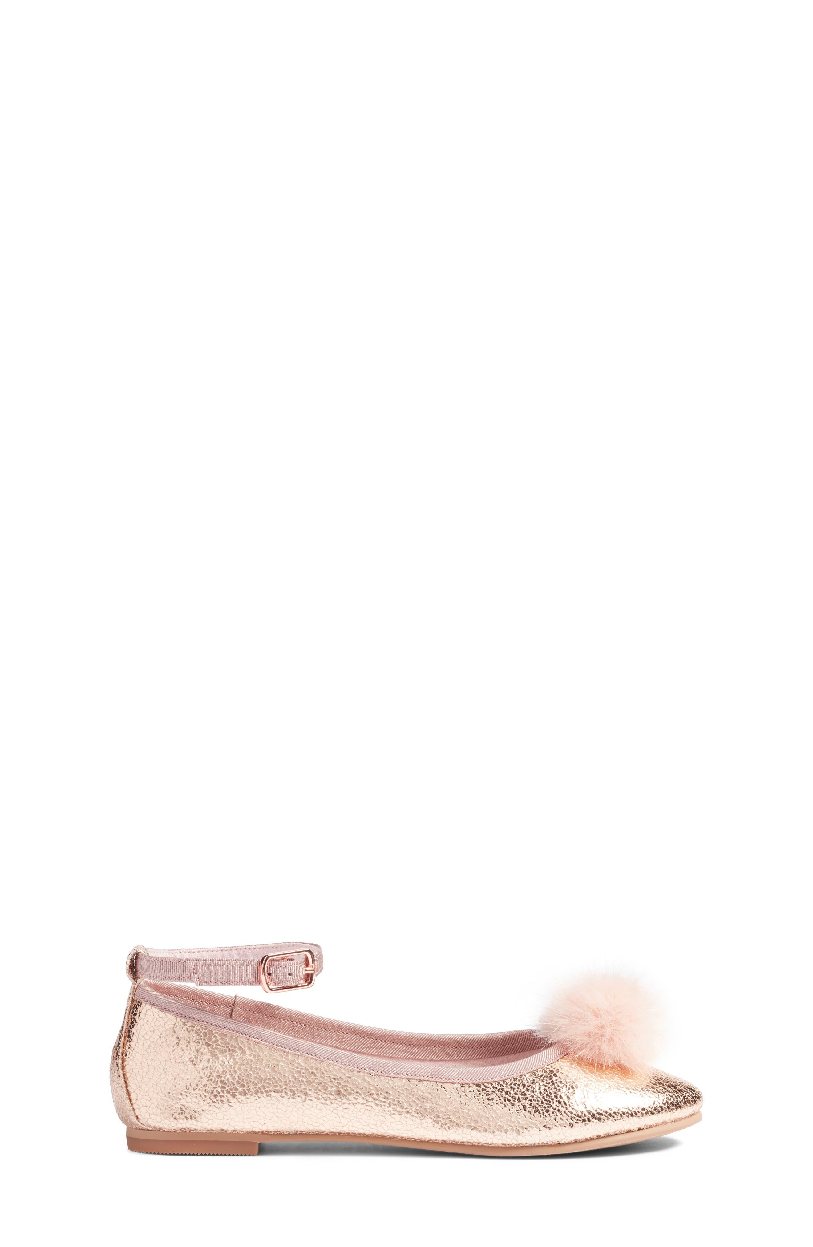 Kilie Faux Fur Pom Flat,                             Alternate thumbnail 3, color,                             Rose Gold Faux Leather