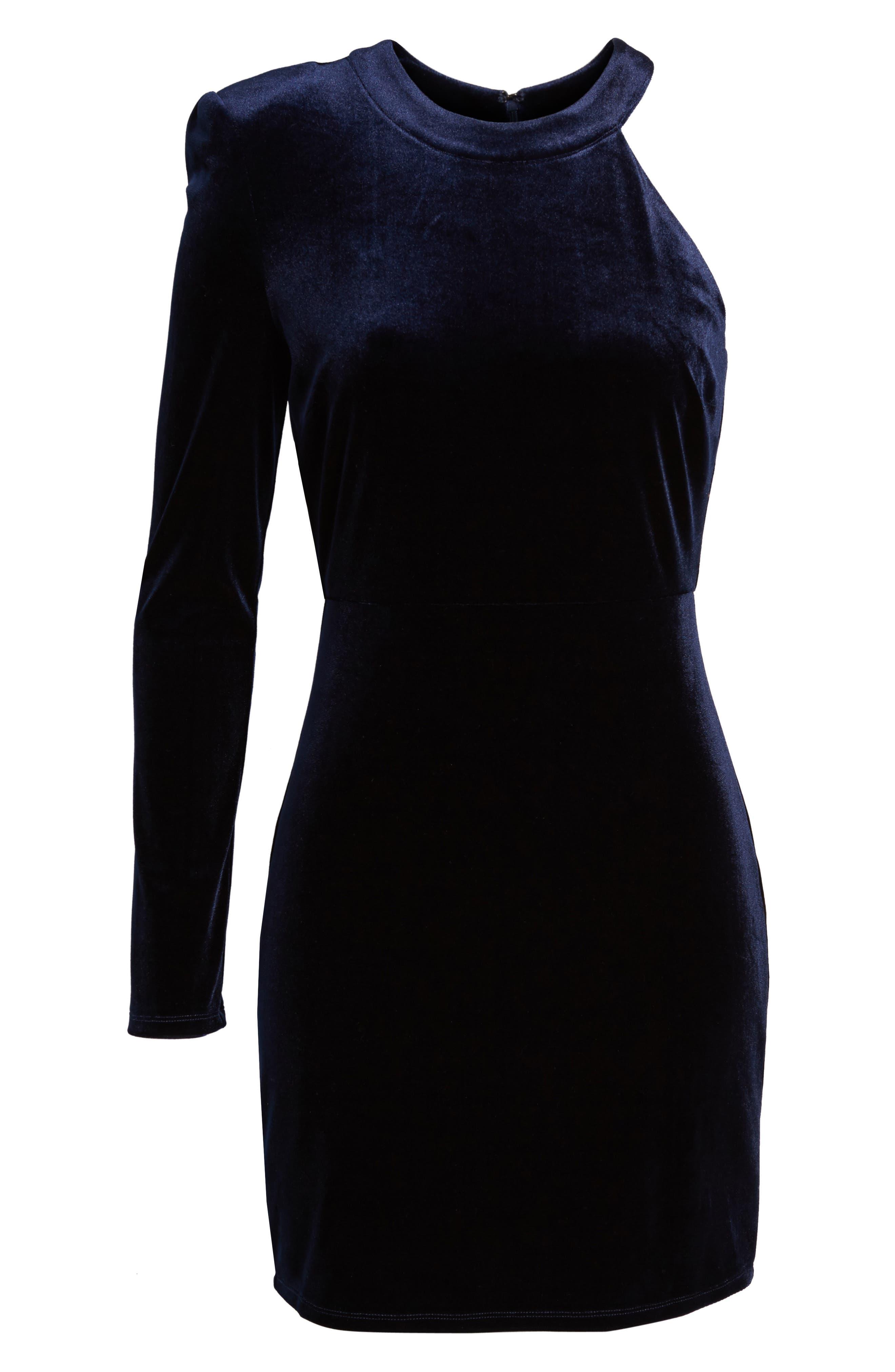 One-Shoulder Velvet Body-Con Dress,                             Alternate thumbnail 6, color,                             Navy