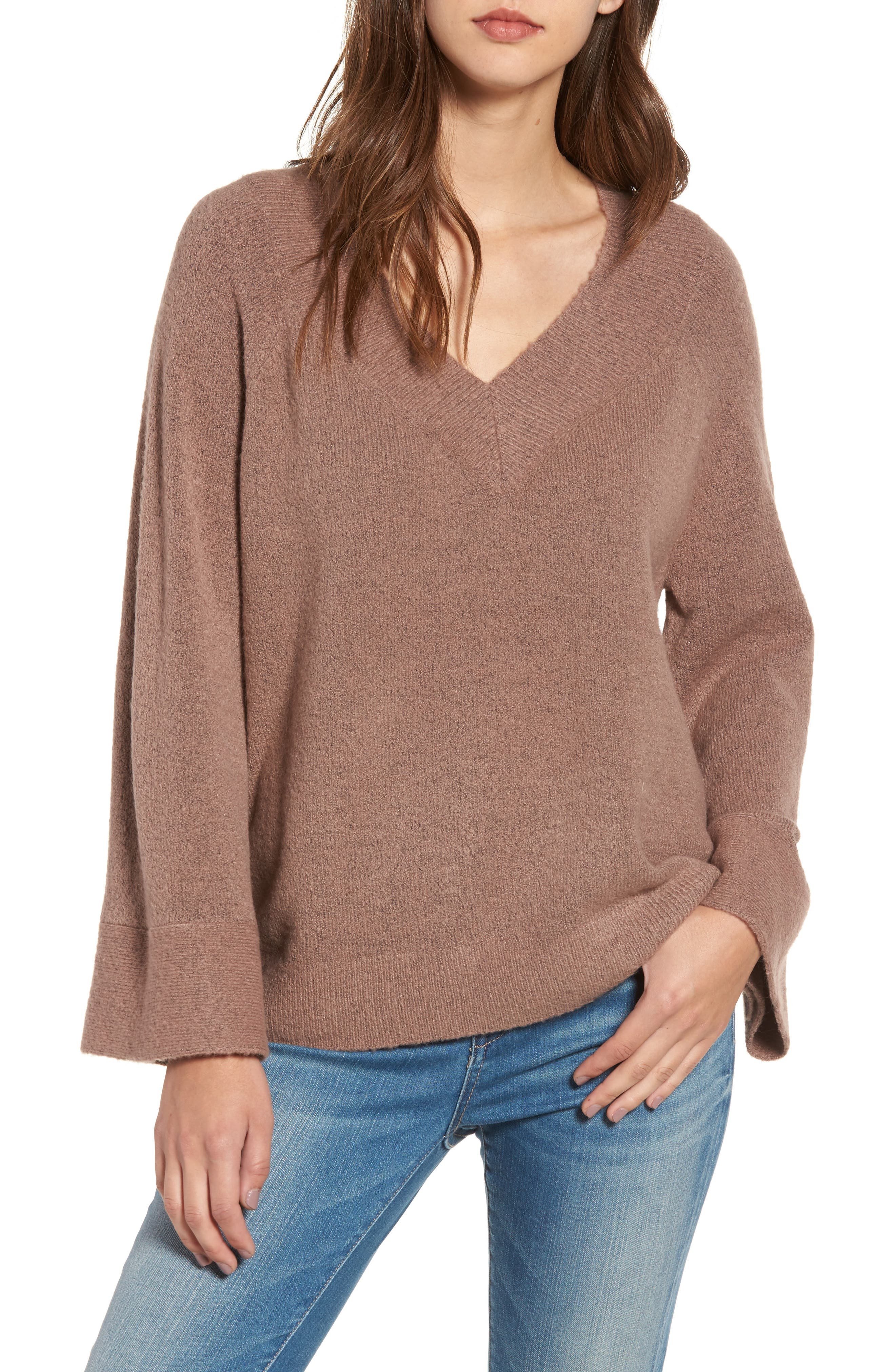 Bell Sleeve Sweater,                             Main thumbnail 1, color,                             Brown Taupe
