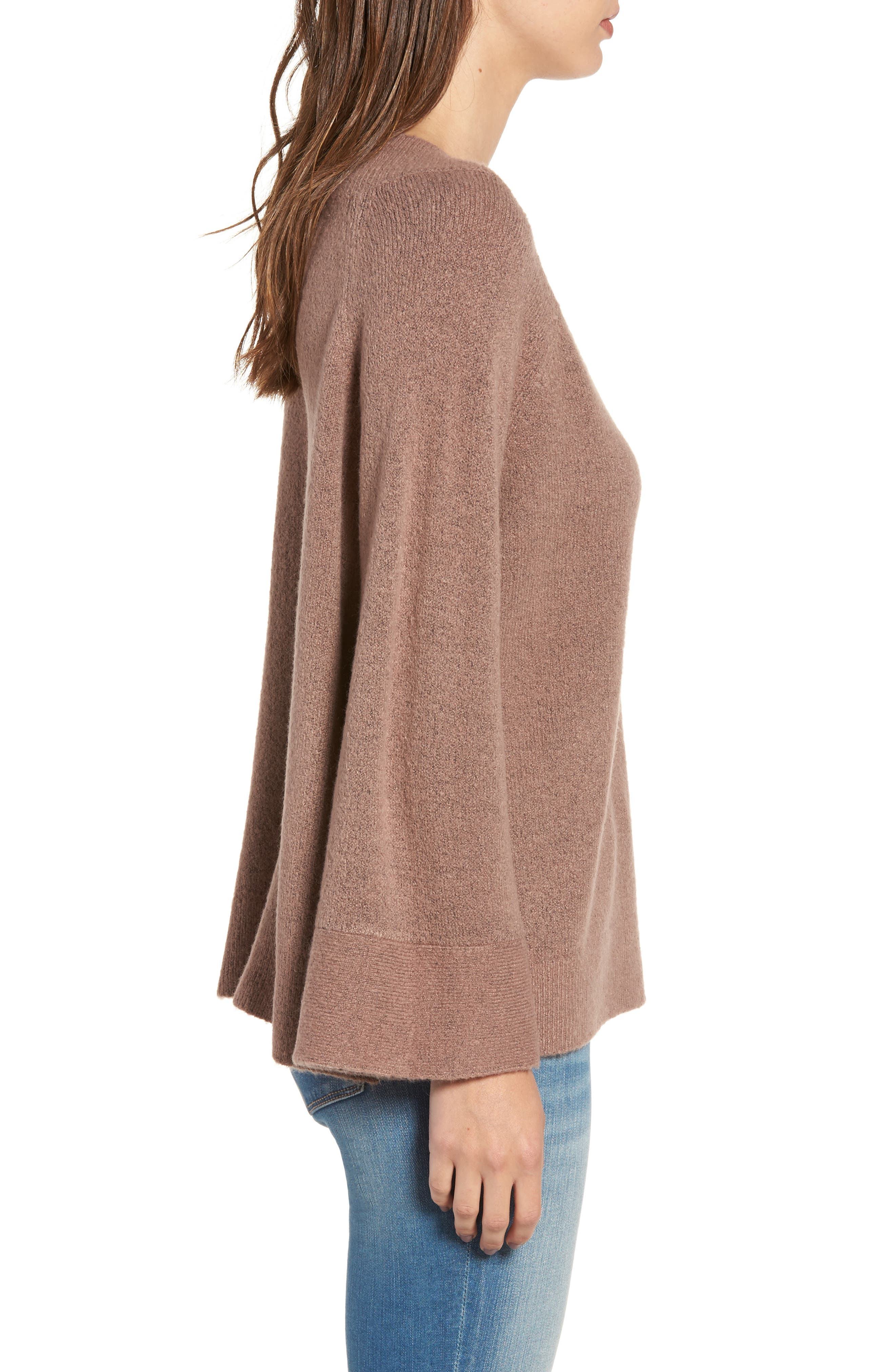 Bell Sleeve Sweater,                             Alternate thumbnail 3, color,                             Brown Taupe