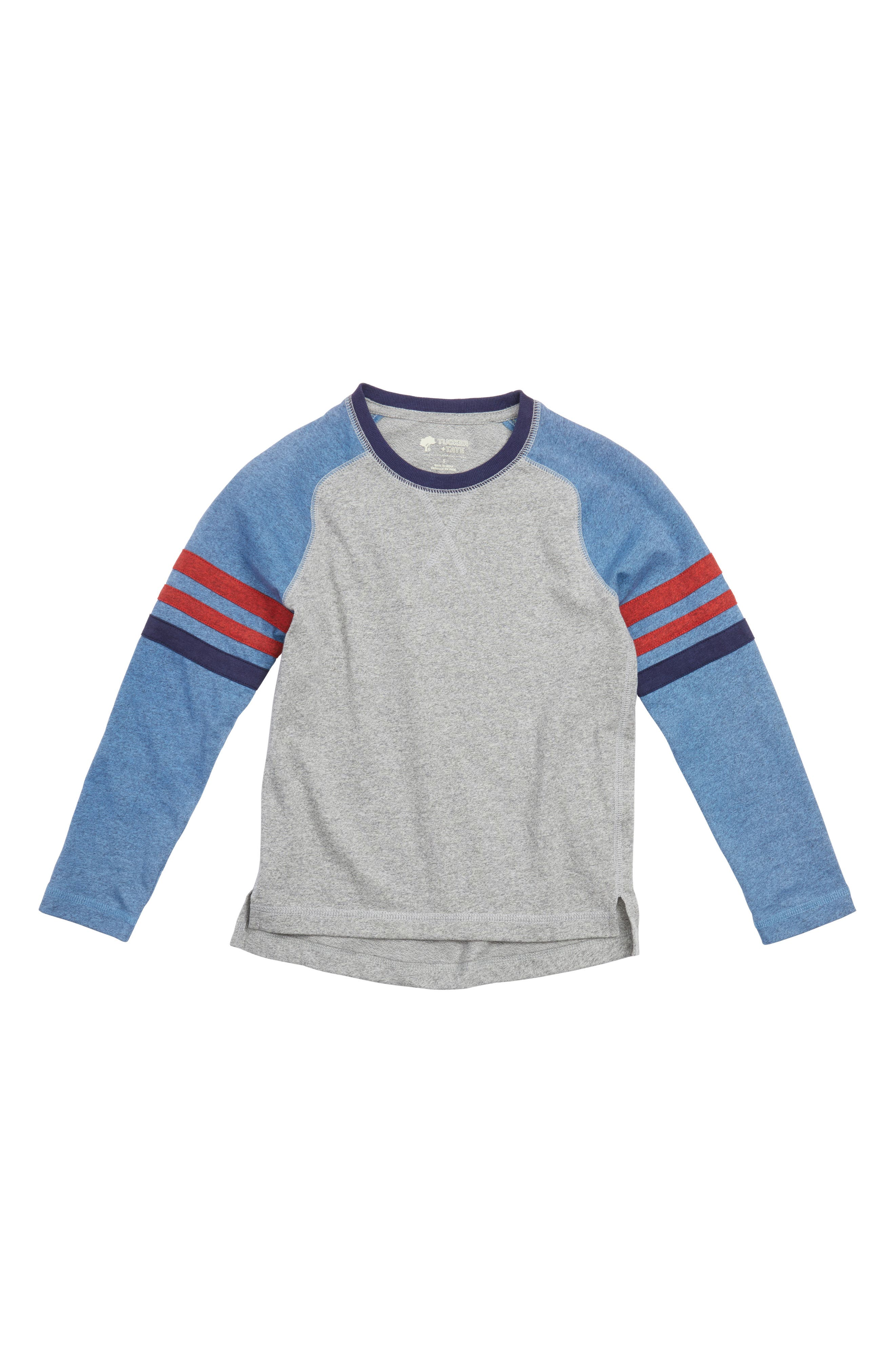 Varsity Raglan T-Shirt,                             Main thumbnail 1, color,                             Grey Medium Heather- Blue