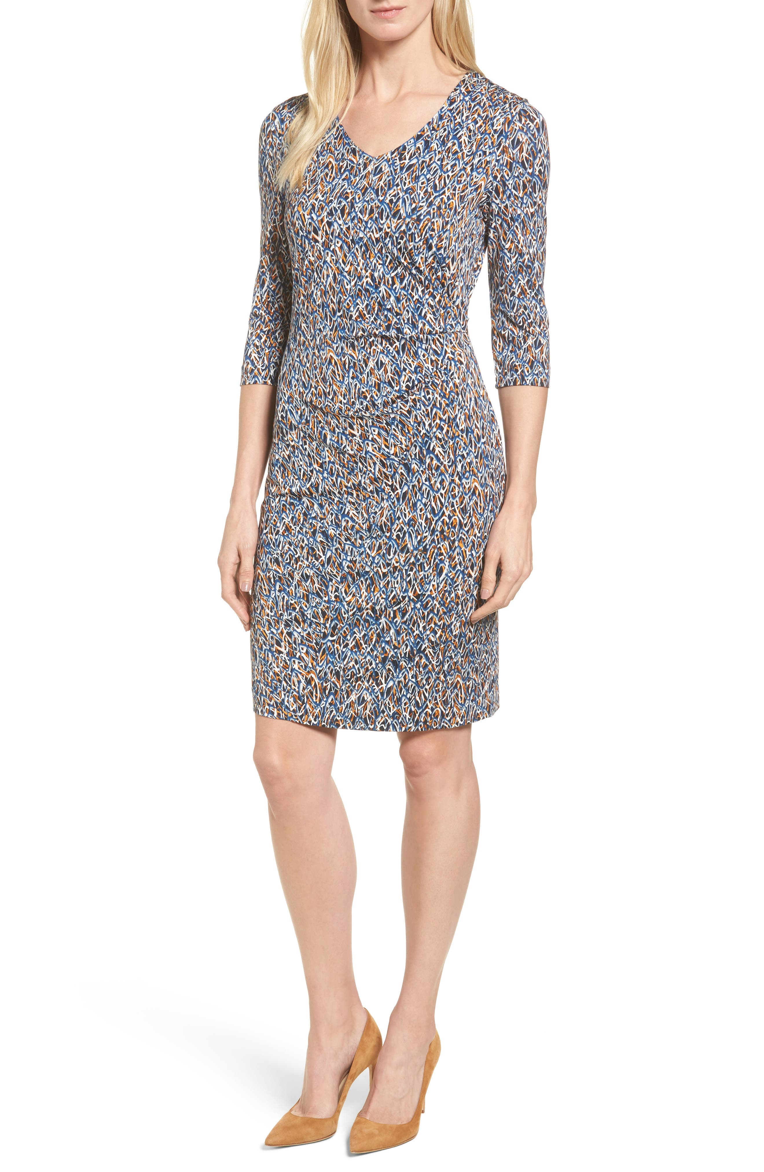 Epona Print Sheath Dress,                         Main,                         color, Navy Fantasy