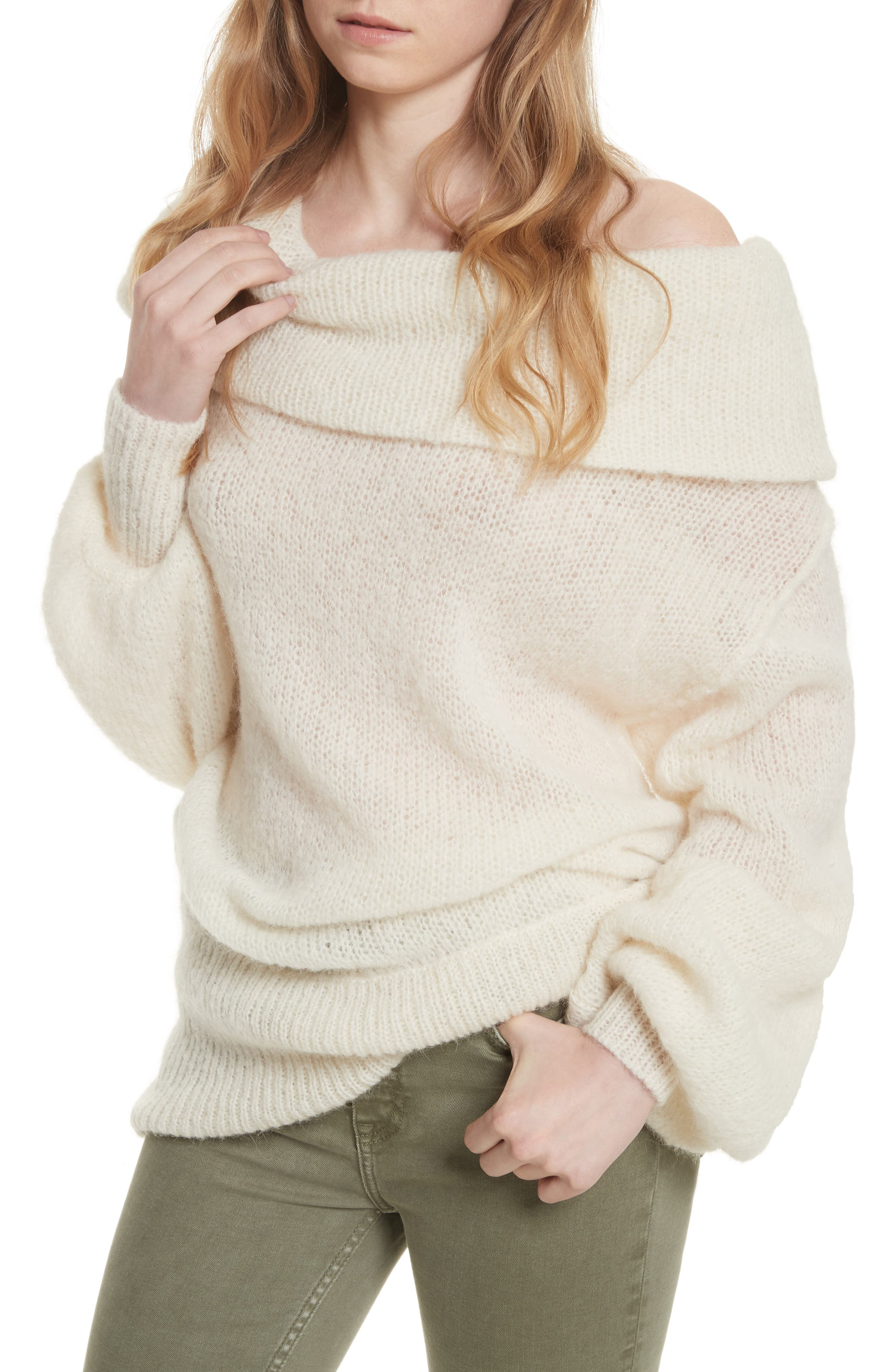 Ophelia Off the Shoulder Sweater,                             Alternate thumbnail 4, color,                             Ivory
