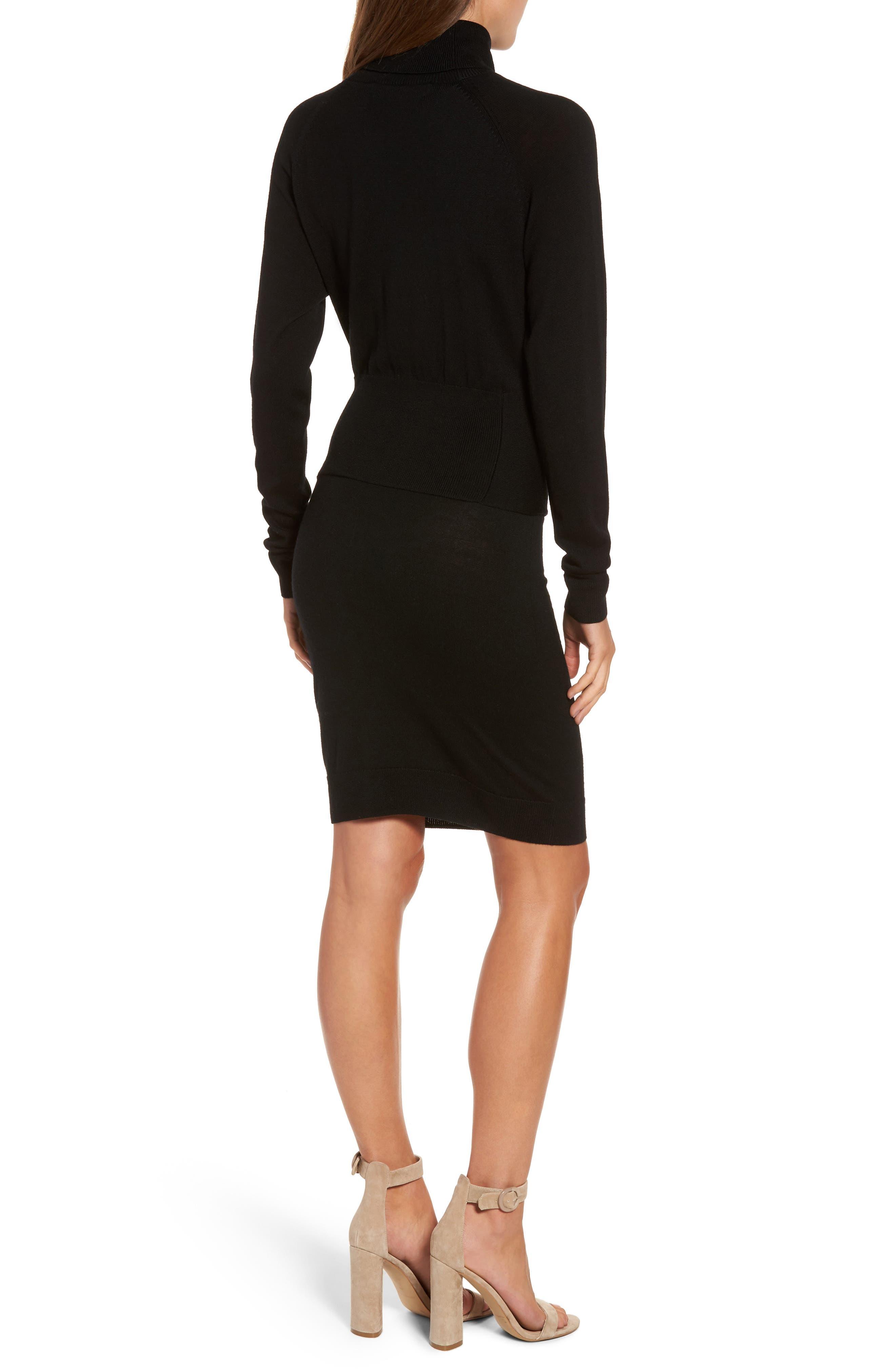 Alternate Image 2  - KENDALL + KYLIE Tie Front Turtleneck Dress