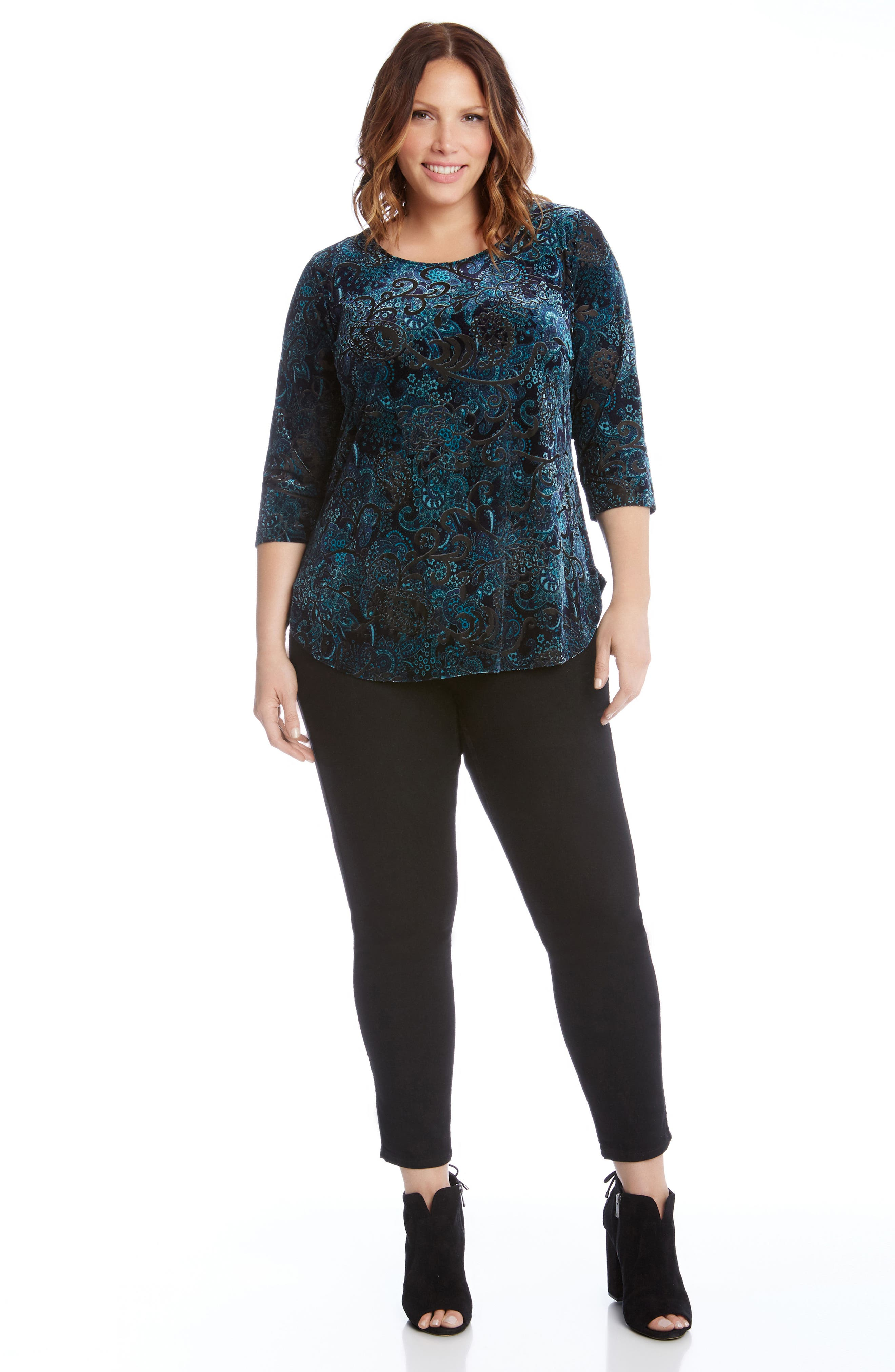Alternate Image 4  - Karen Kane Velvet Burnout Top (Plus Size)