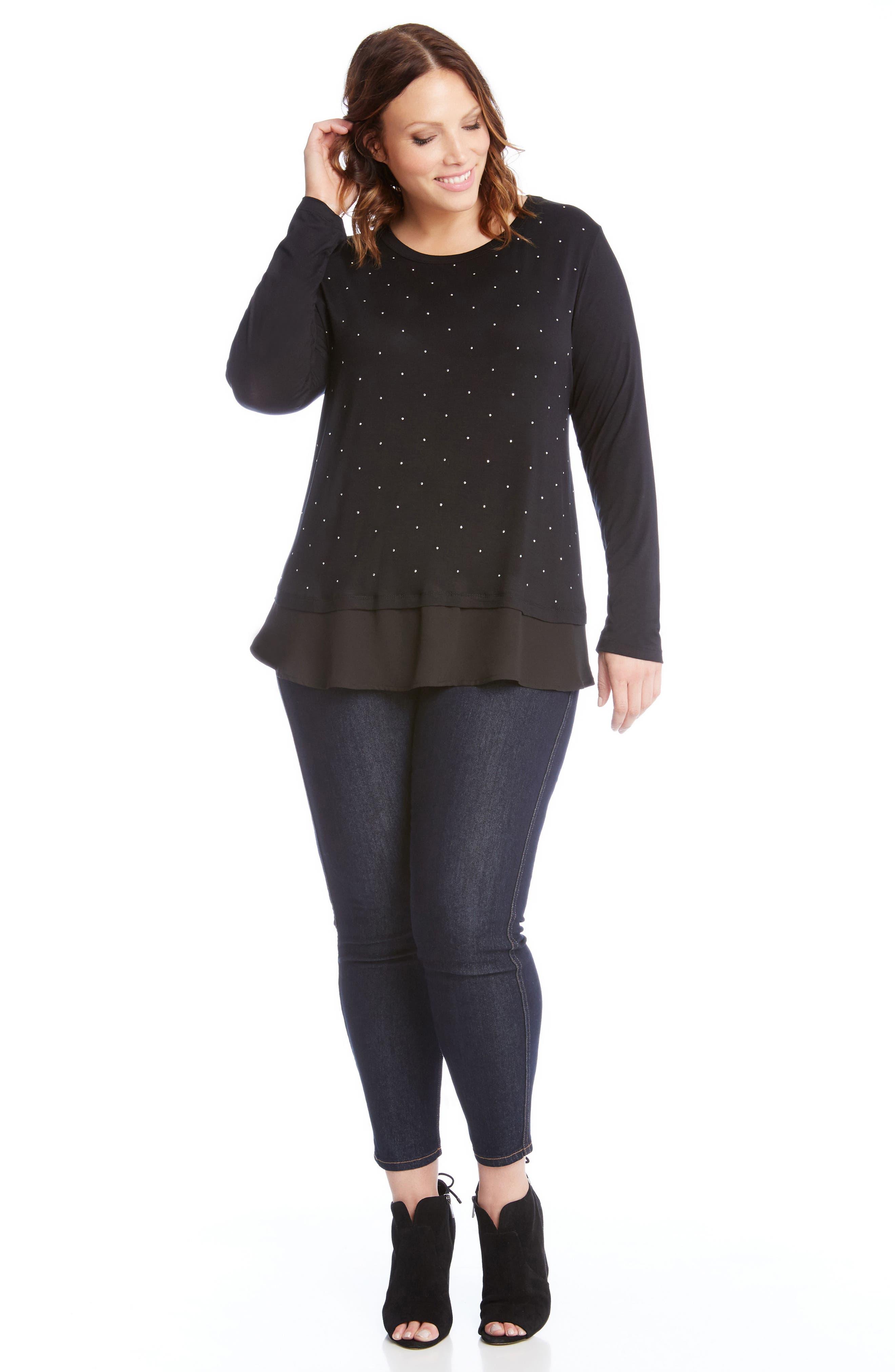 Alternate Image 3  - Karen Kane Studded Woven Hem Top (Plus Size)