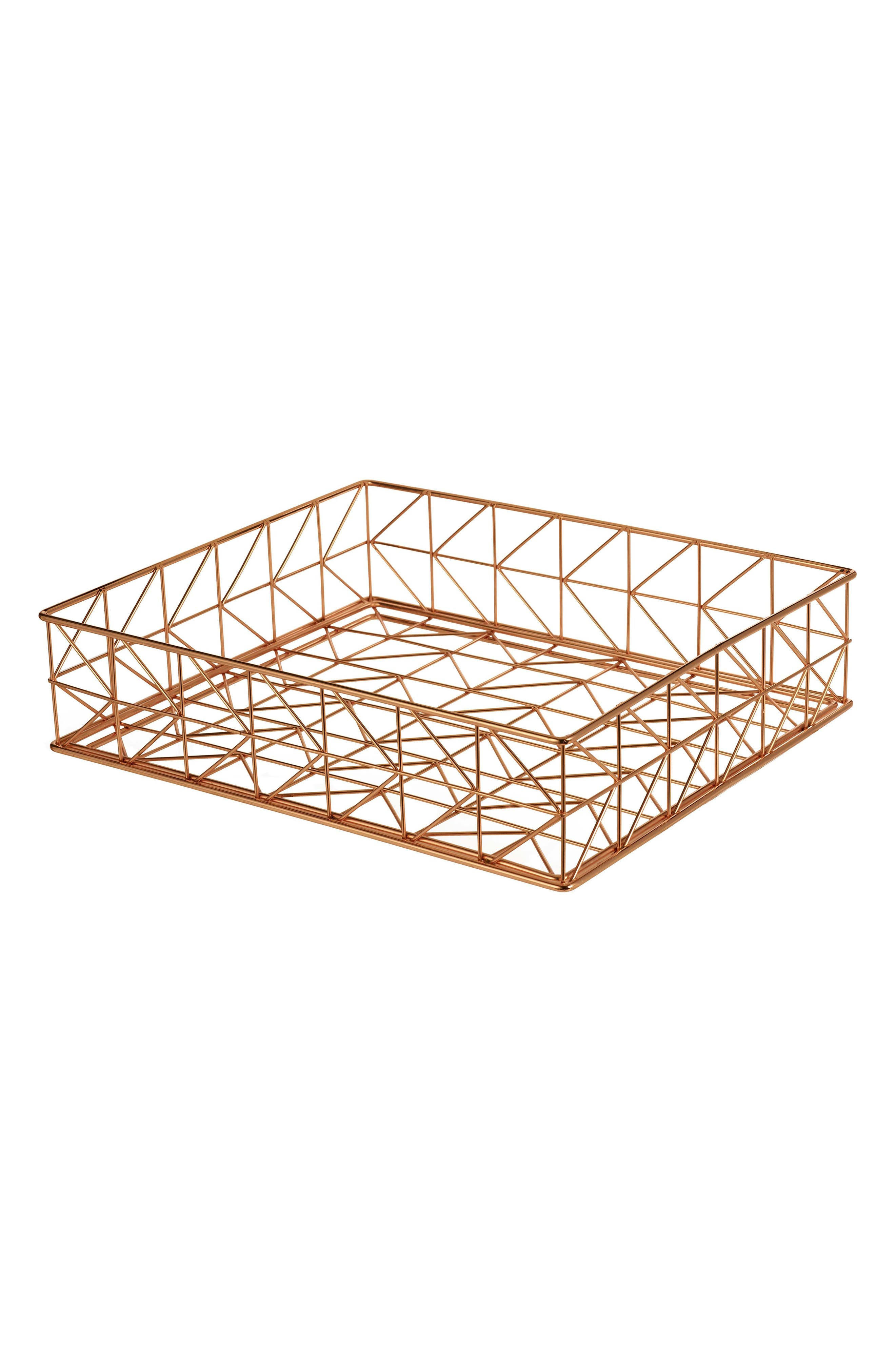 Trace Letter Basket,                         Main,                         color, Copper