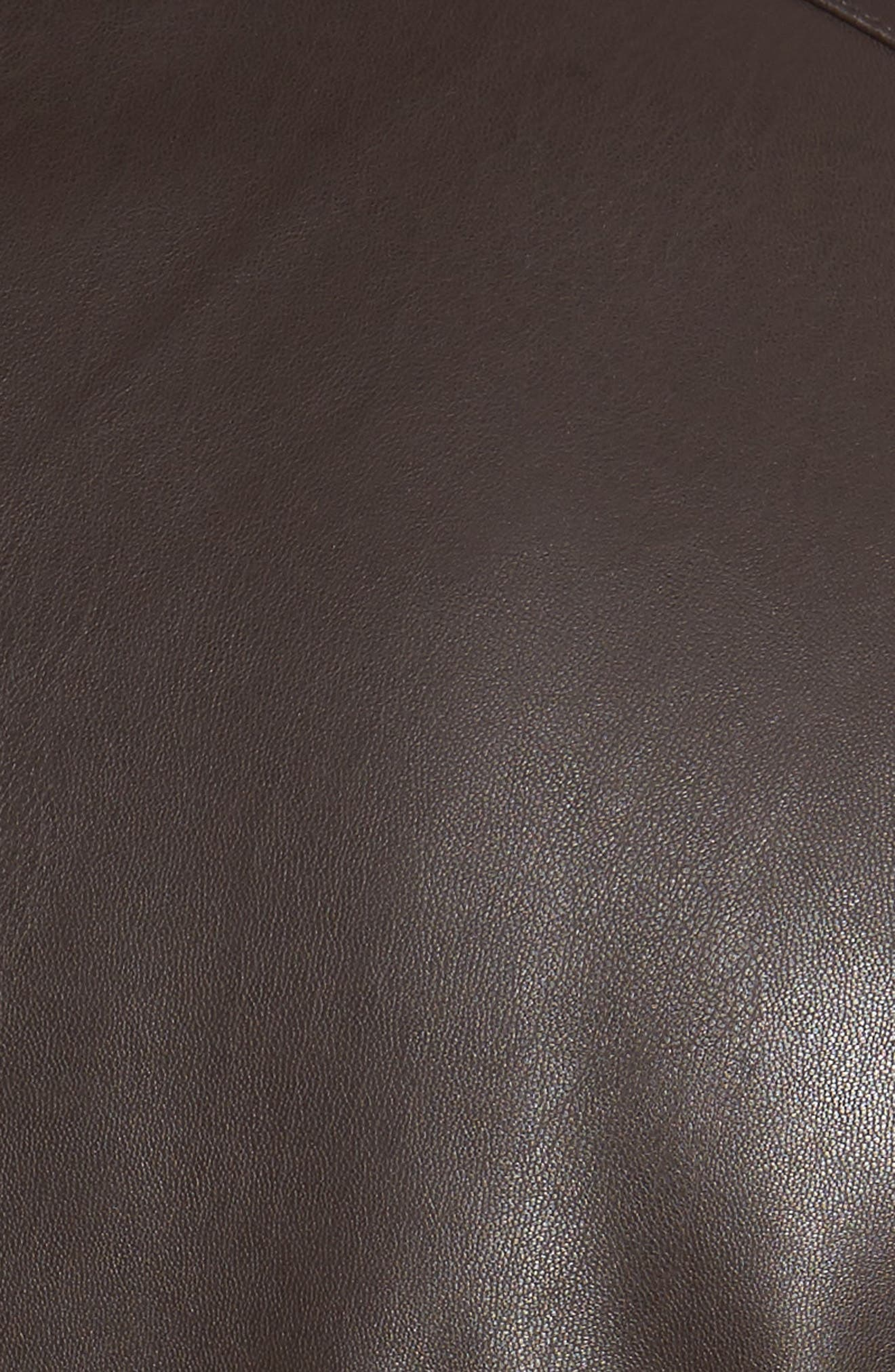 Faux Leather Jacket,                             Alternate thumbnail 5, color,                             Dark Brown