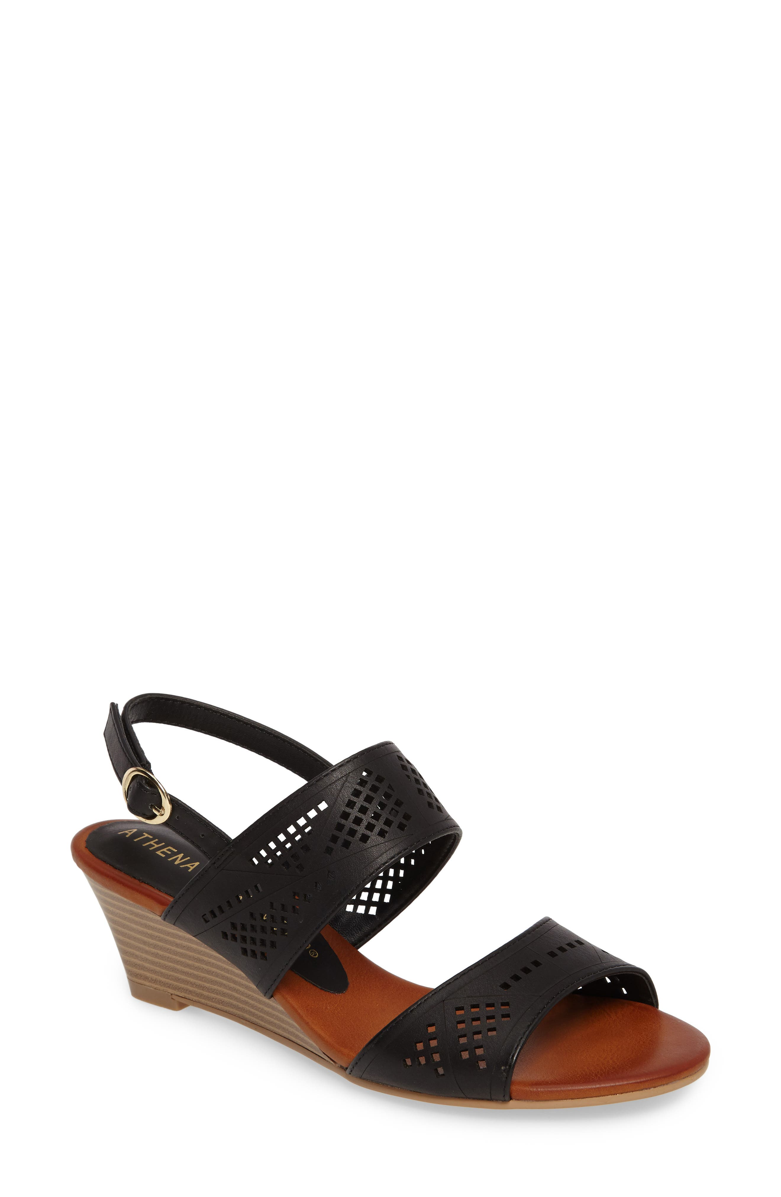 Alternate Image 1 Selected - Athena Alexander Sparce Perforated Wedge Sandal (Women)