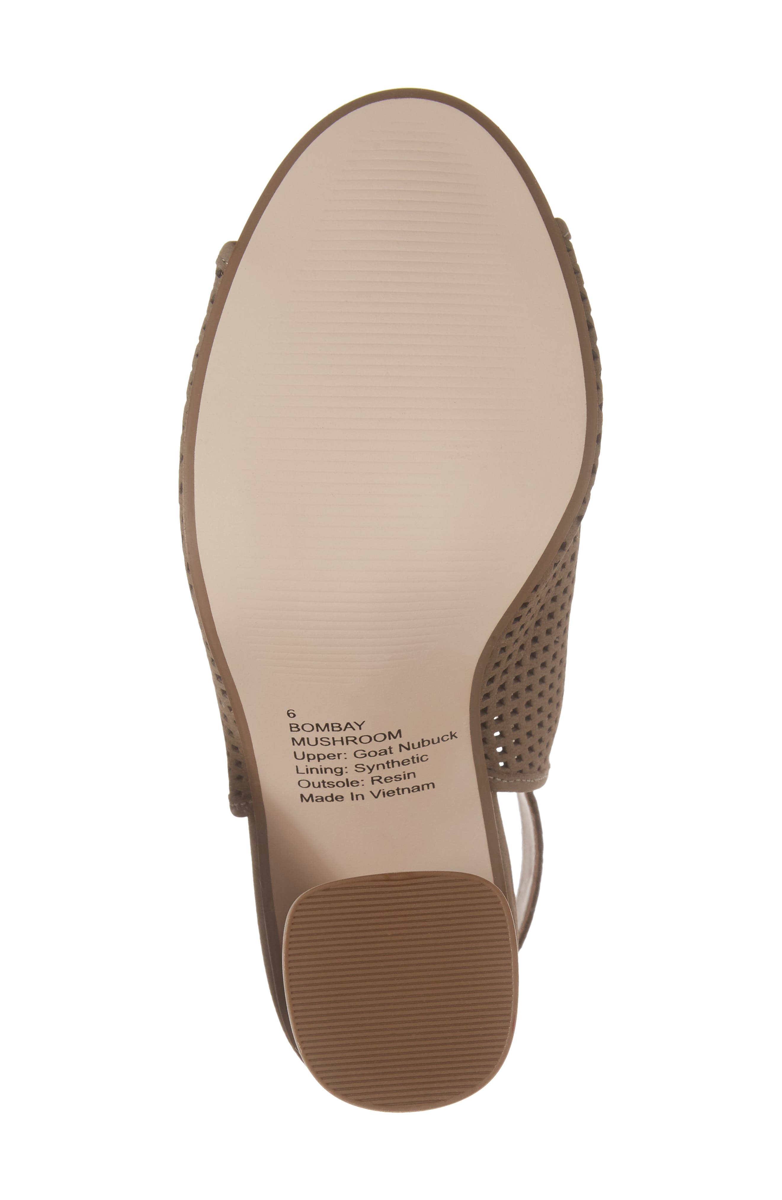 Bombay Perforated Sandal,                             Alternate thumbnail 6, color,                             Mushroom