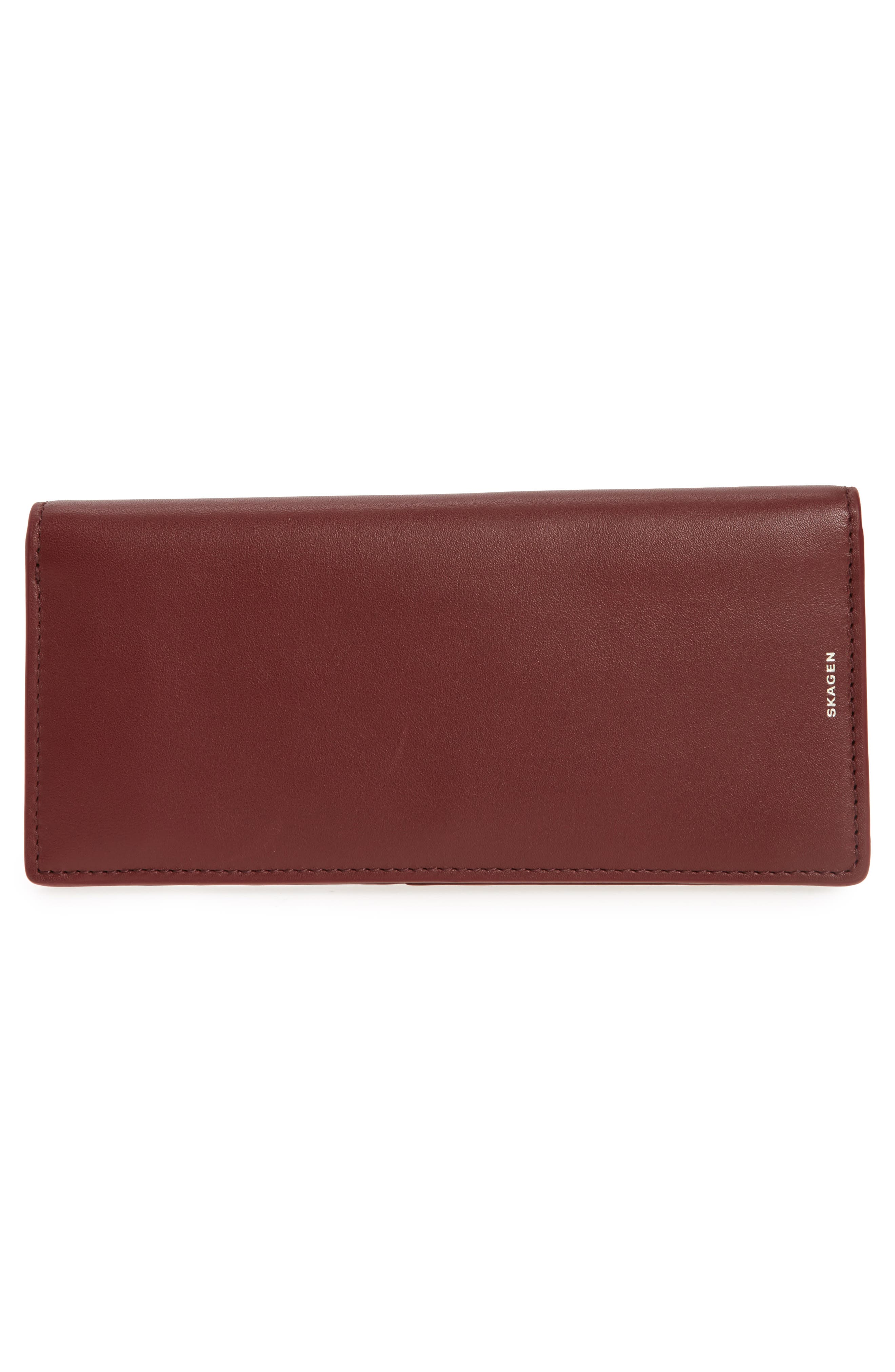 Slim Vertical Leather Wallet,                             Alternate thumbnail 3, color,                             Cordovan