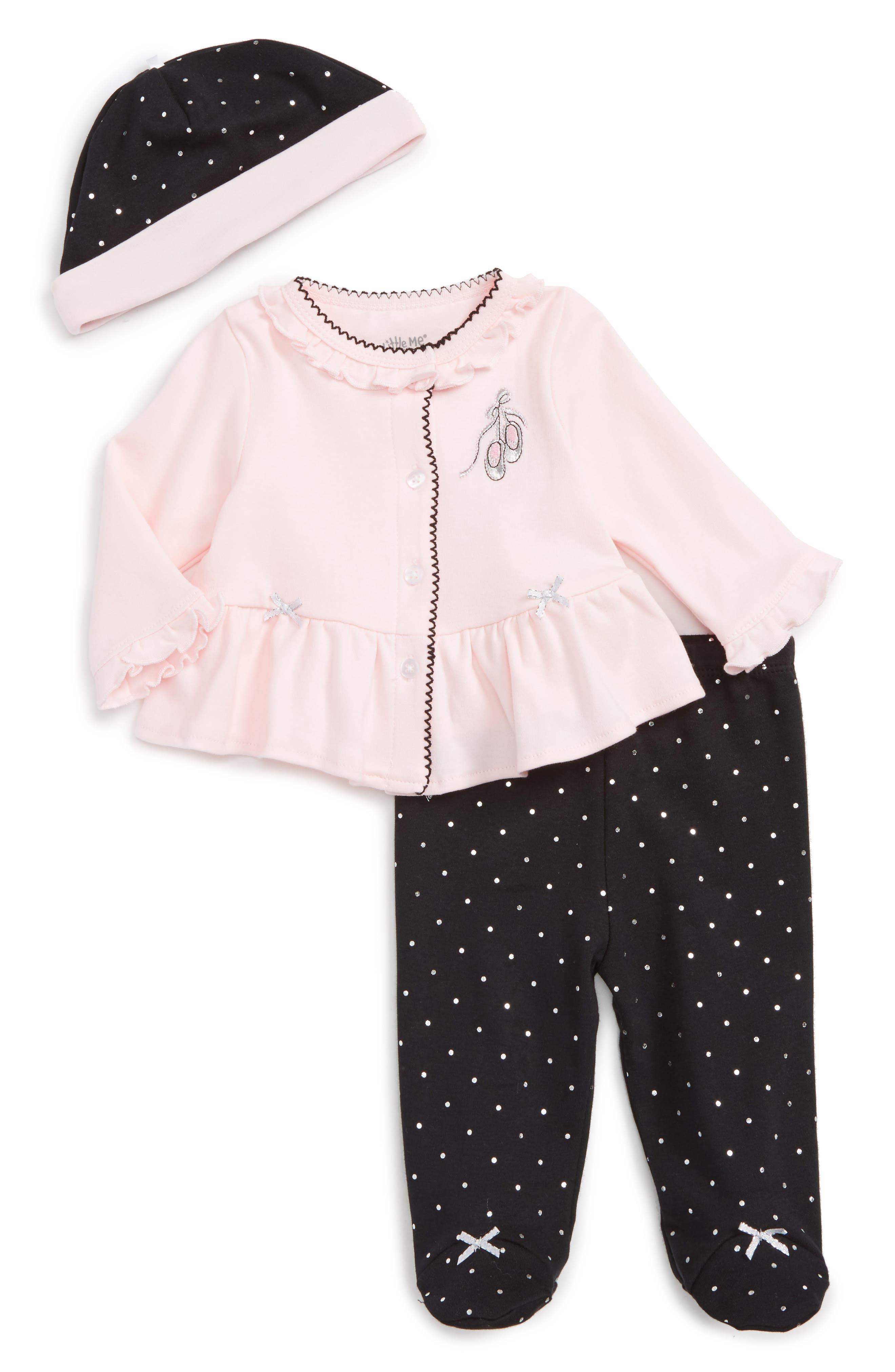 LITTLE ME Ballet Dot Cardigan, Pants & Hat Set