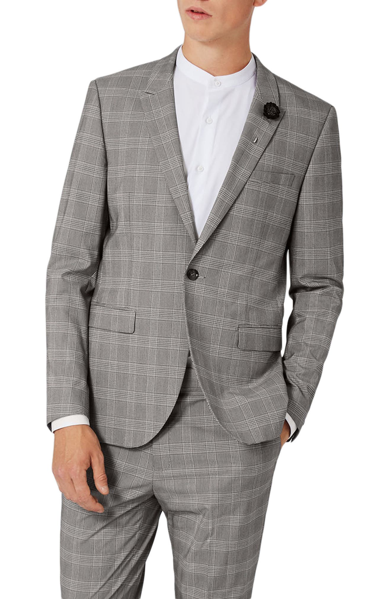 Skinny Fit Check Suit Jacket,                             Main thumbnail 1, color,                             Black