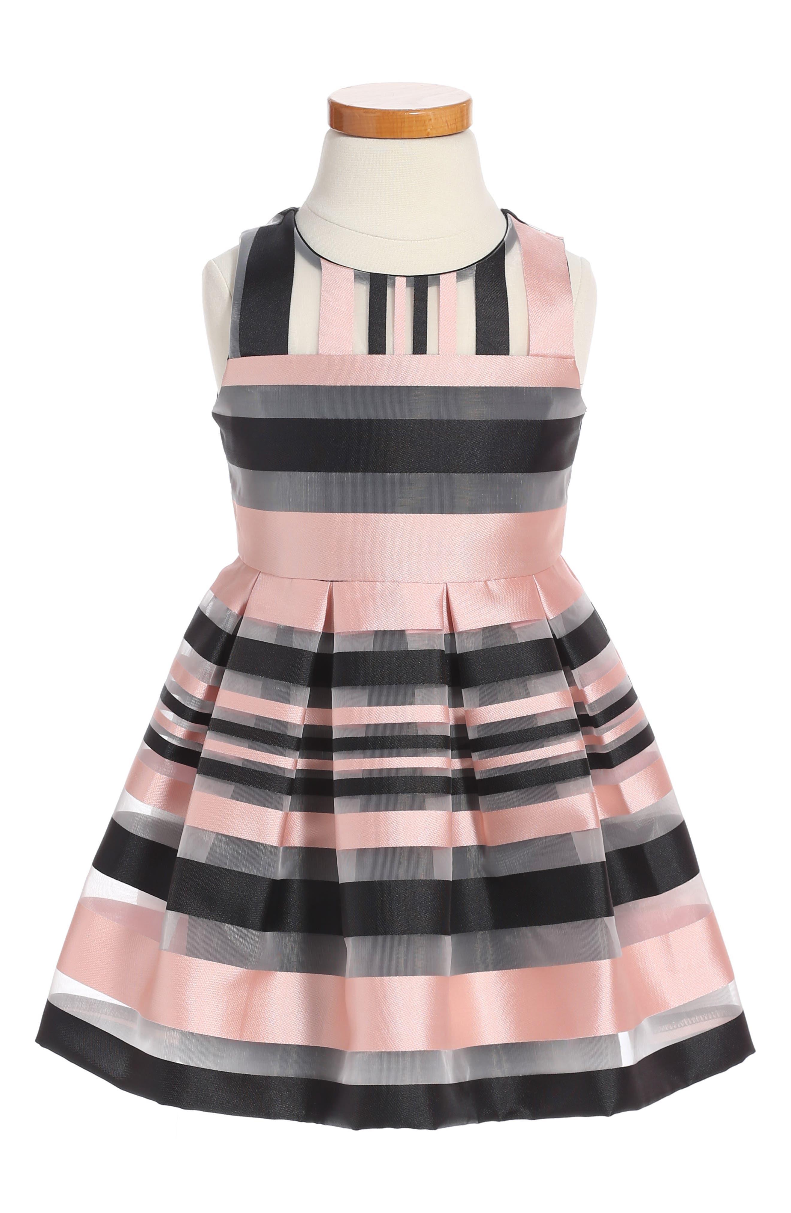 Illusion Stripe Sleeveless Dress,                             Main thumbnail 1, color,                             Blush/ Black