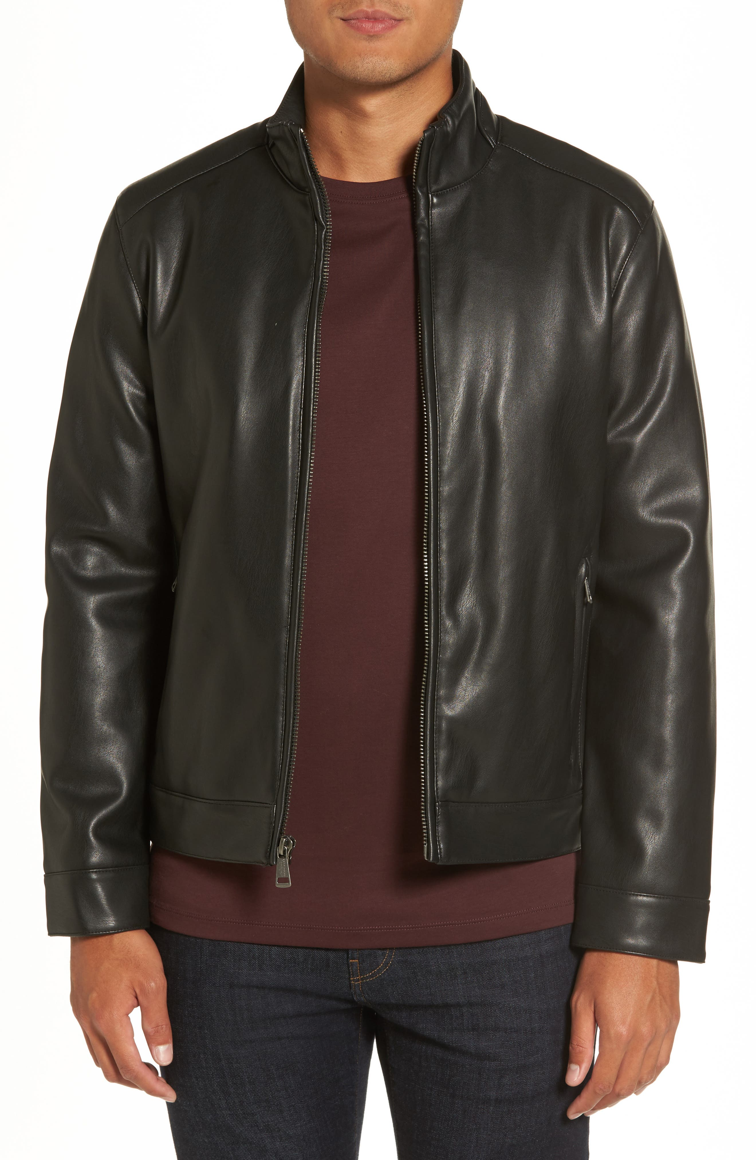Cole Haan Faux Leather Jacket