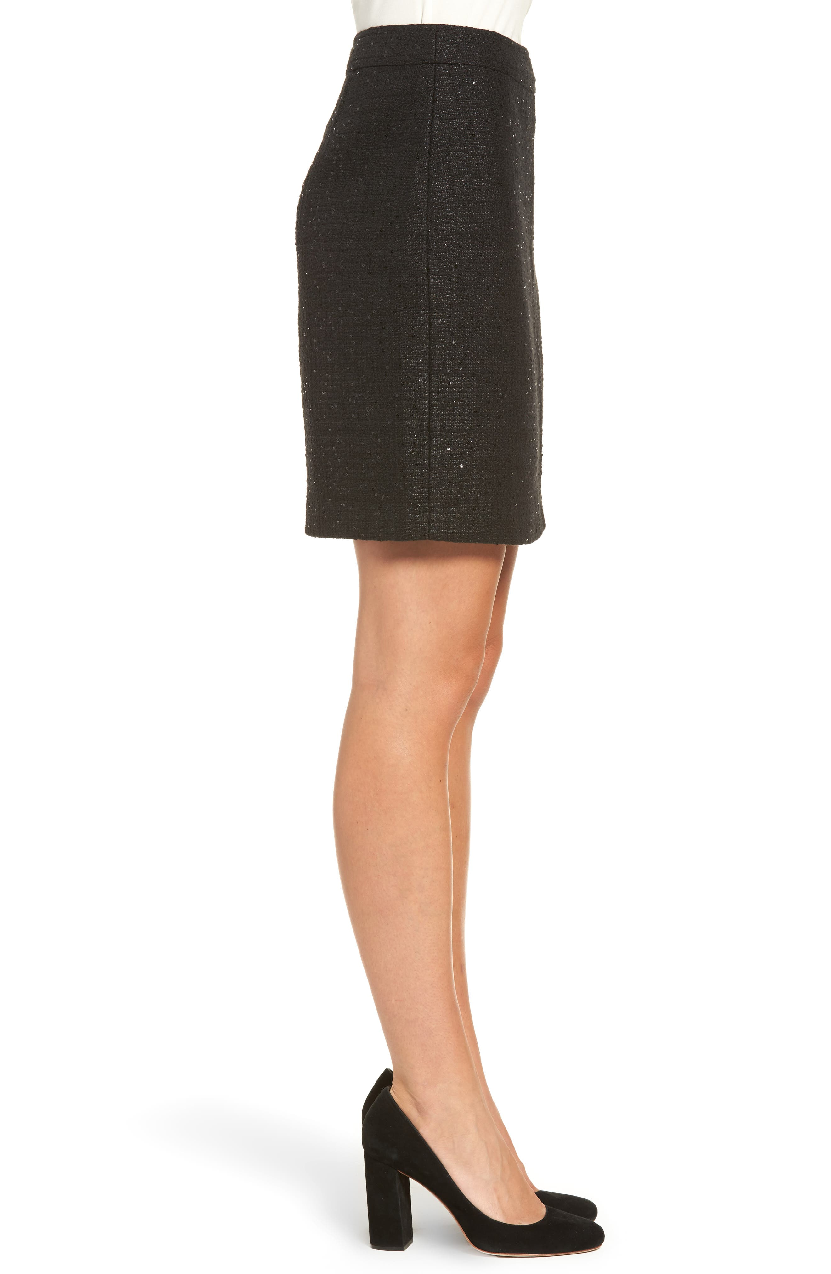 Sequin Tweed Skirt,                             Alternate thumbnail 3, color,                             Black/ Black