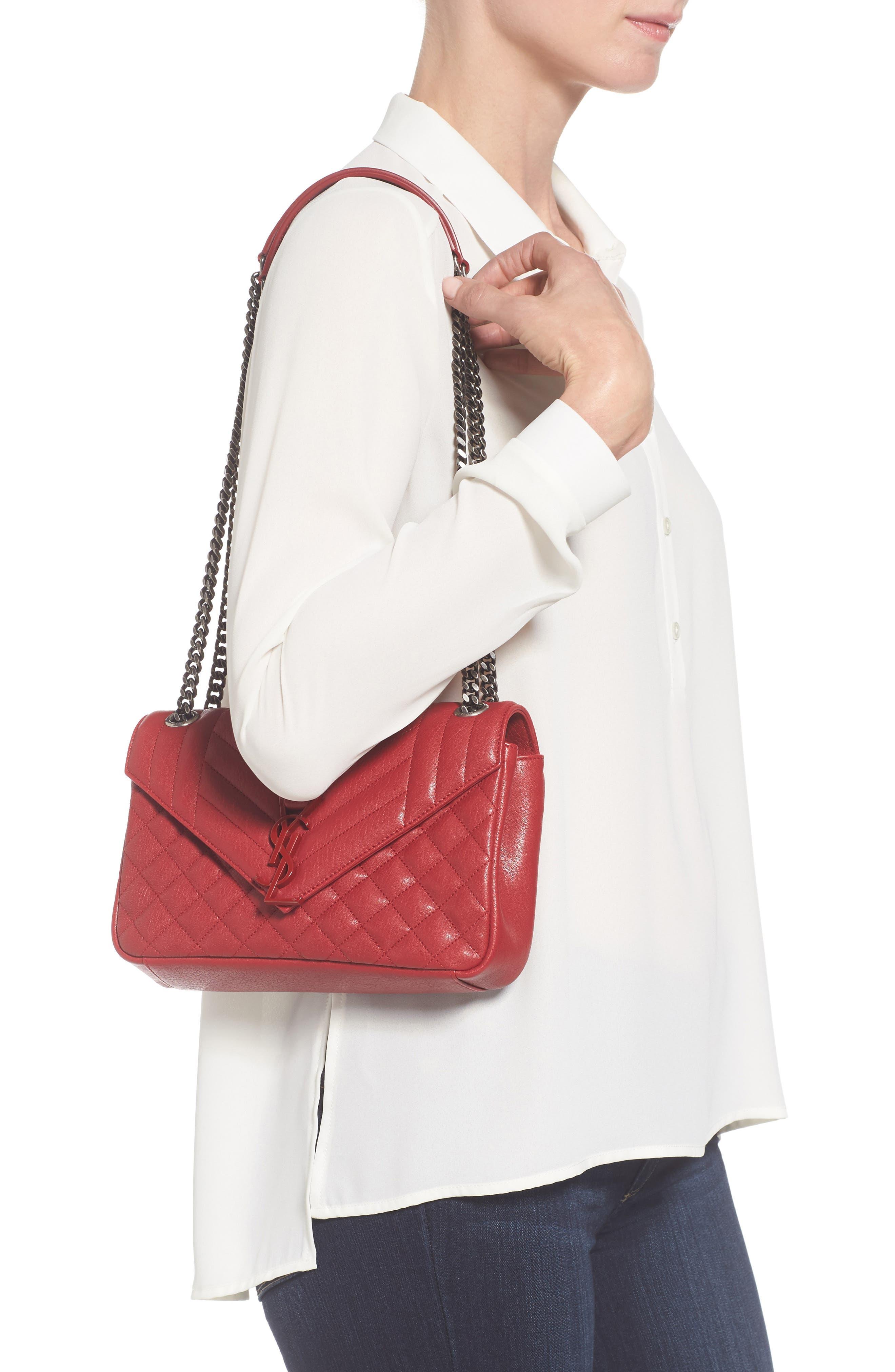 Large Monogramme Matelassé Leather Shoulder Bag,                             Alternate thumbnail 2, color,                             Rouge Lipstick
