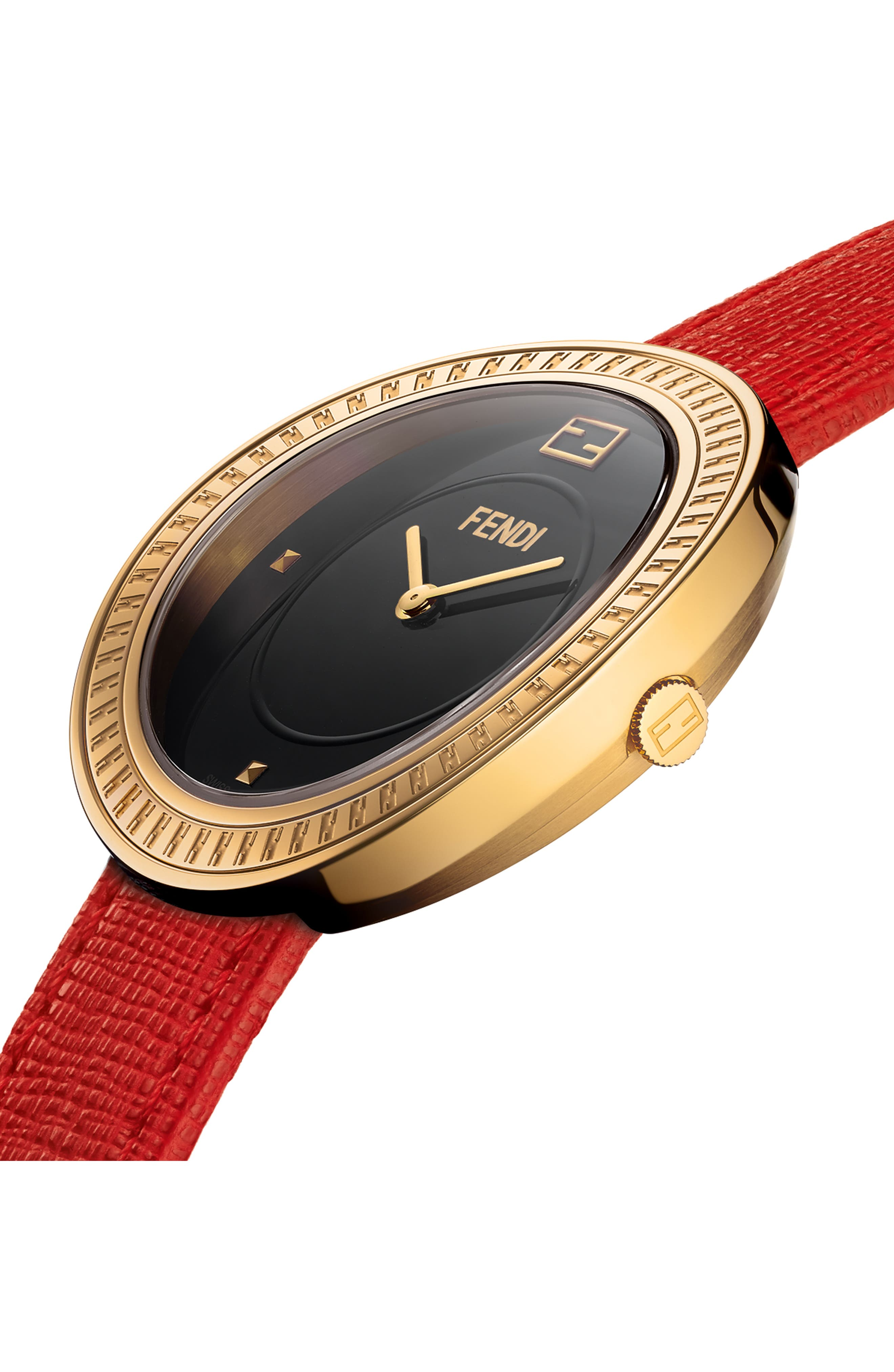 My Way Genuine Fox Fur Leather Strap Watch, 36mm,                             Alternate thumbnail 2, color,                             Red/ Black/ Gold