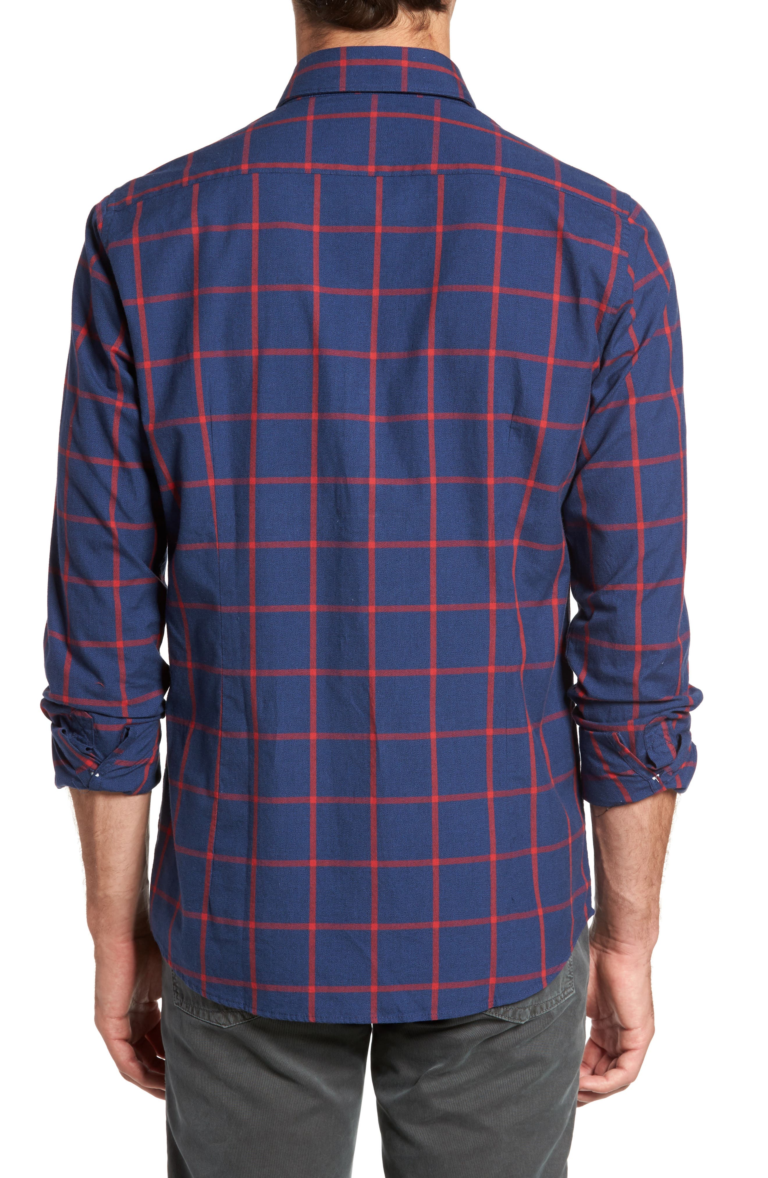 Baxter Tattersall Sport Shirt,                             Alternate thumbnail 2, color,                             Navy