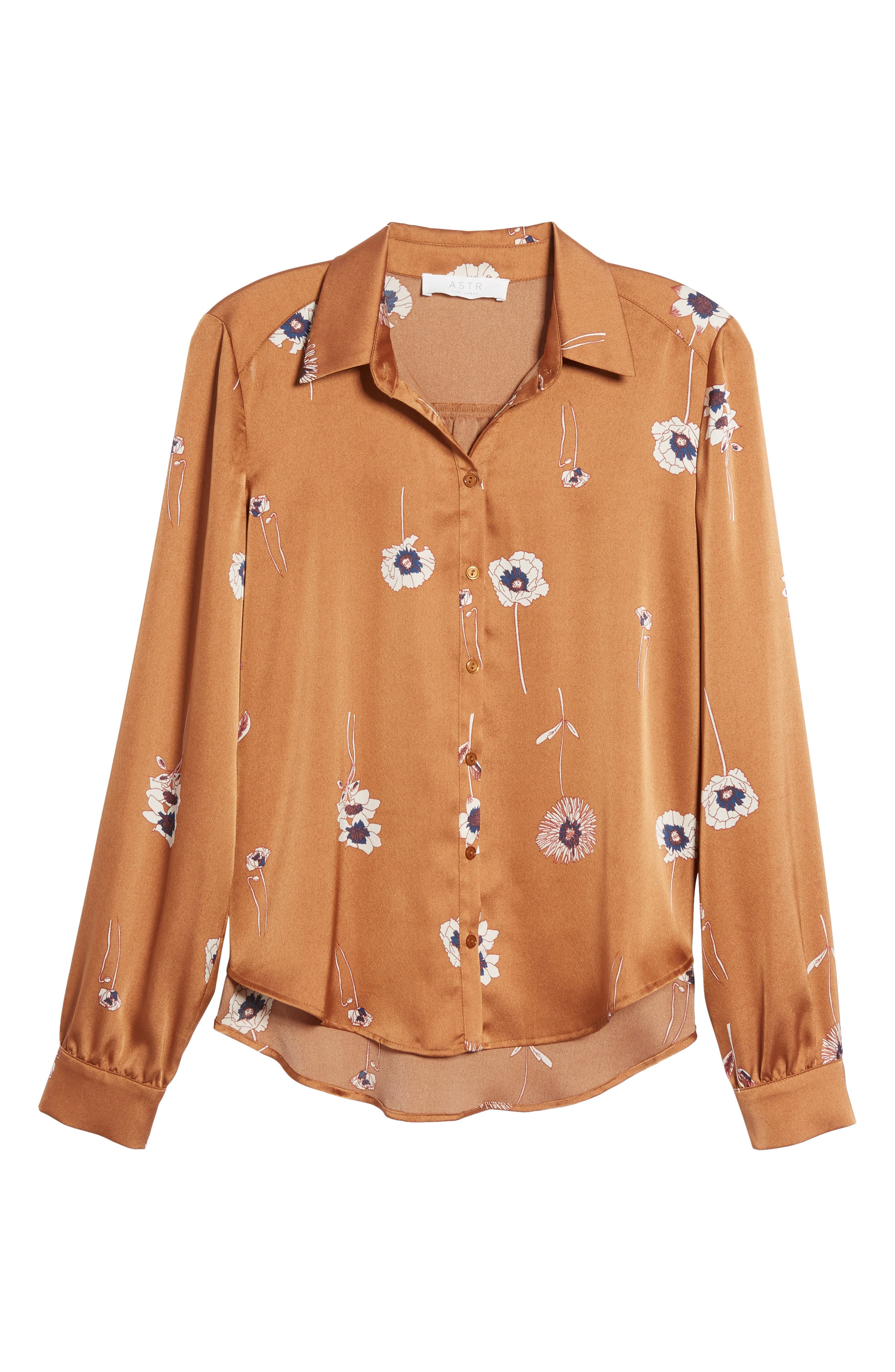 Madison Blouse,                             Alternate thumbnail 6, color,                             Bronze Floral
