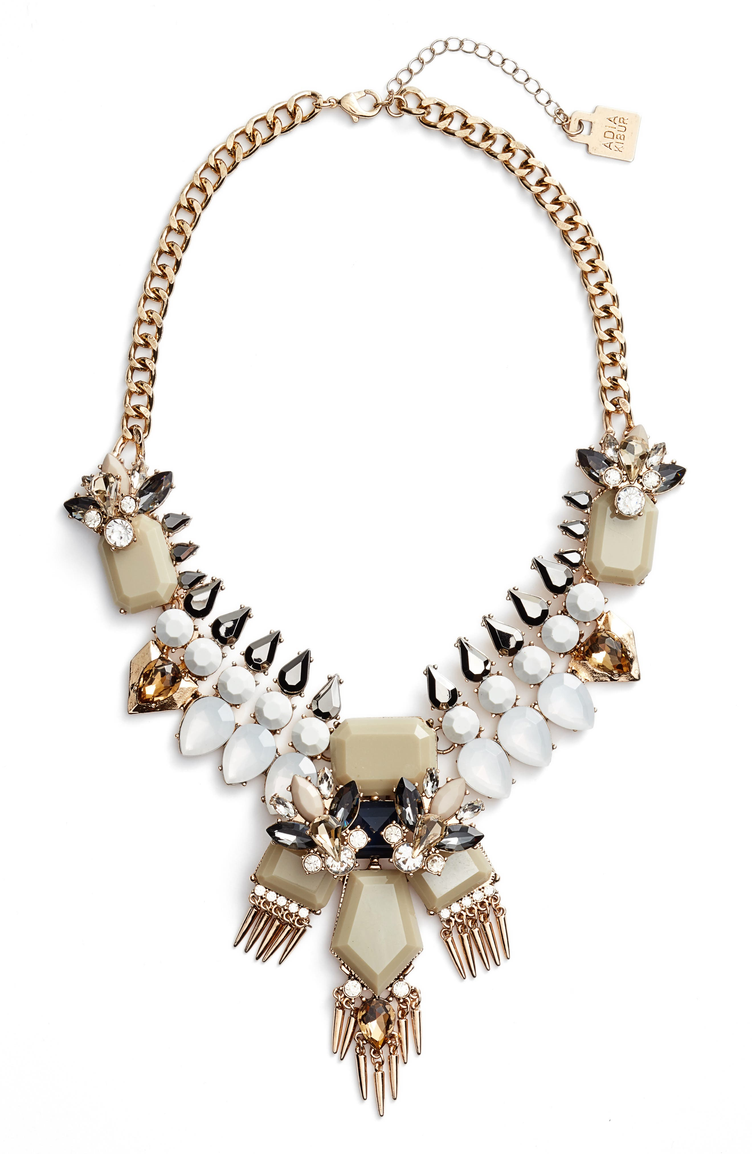 Crystal & Spike Statement Necklace,                         Main,                         color, Taupe