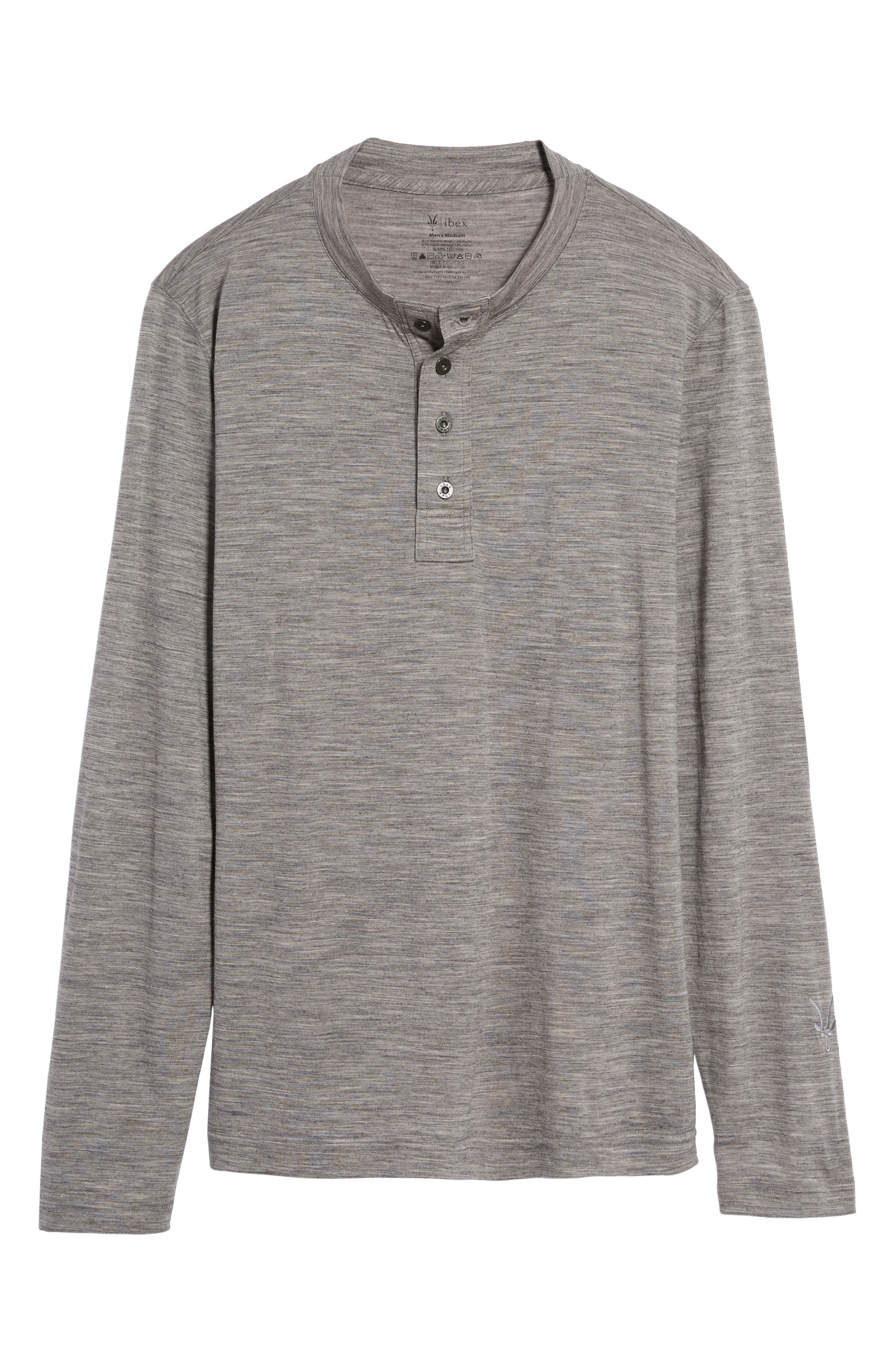 Odyssey Merino Wool Blend Henley,                             Alternate thumbnail 6, color,                             Stone Grey Heather