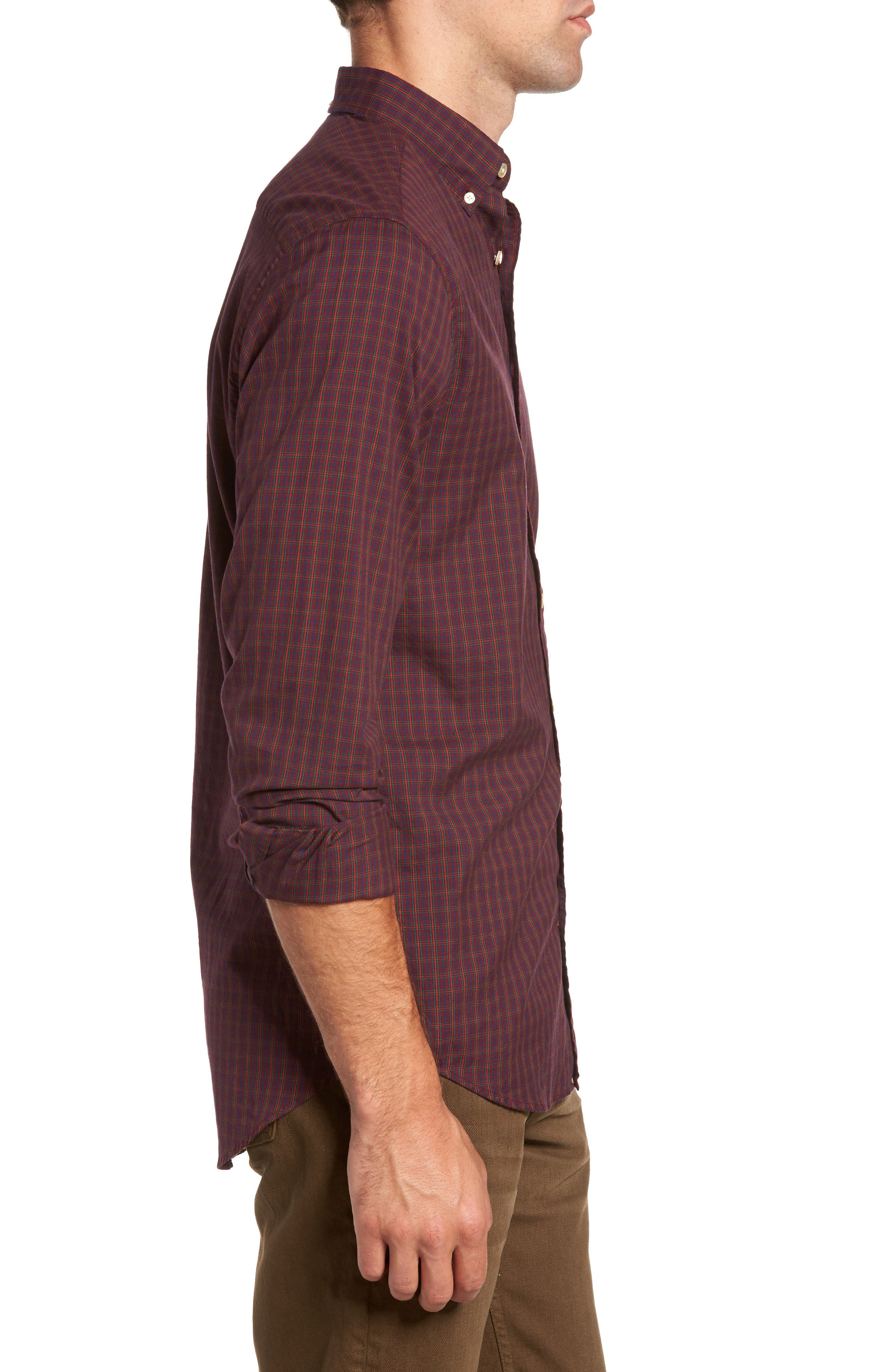Windblown Slim Fit Oxford Sport Shirt,                             Alternate thumbnail 3, color,                             Purple Wine