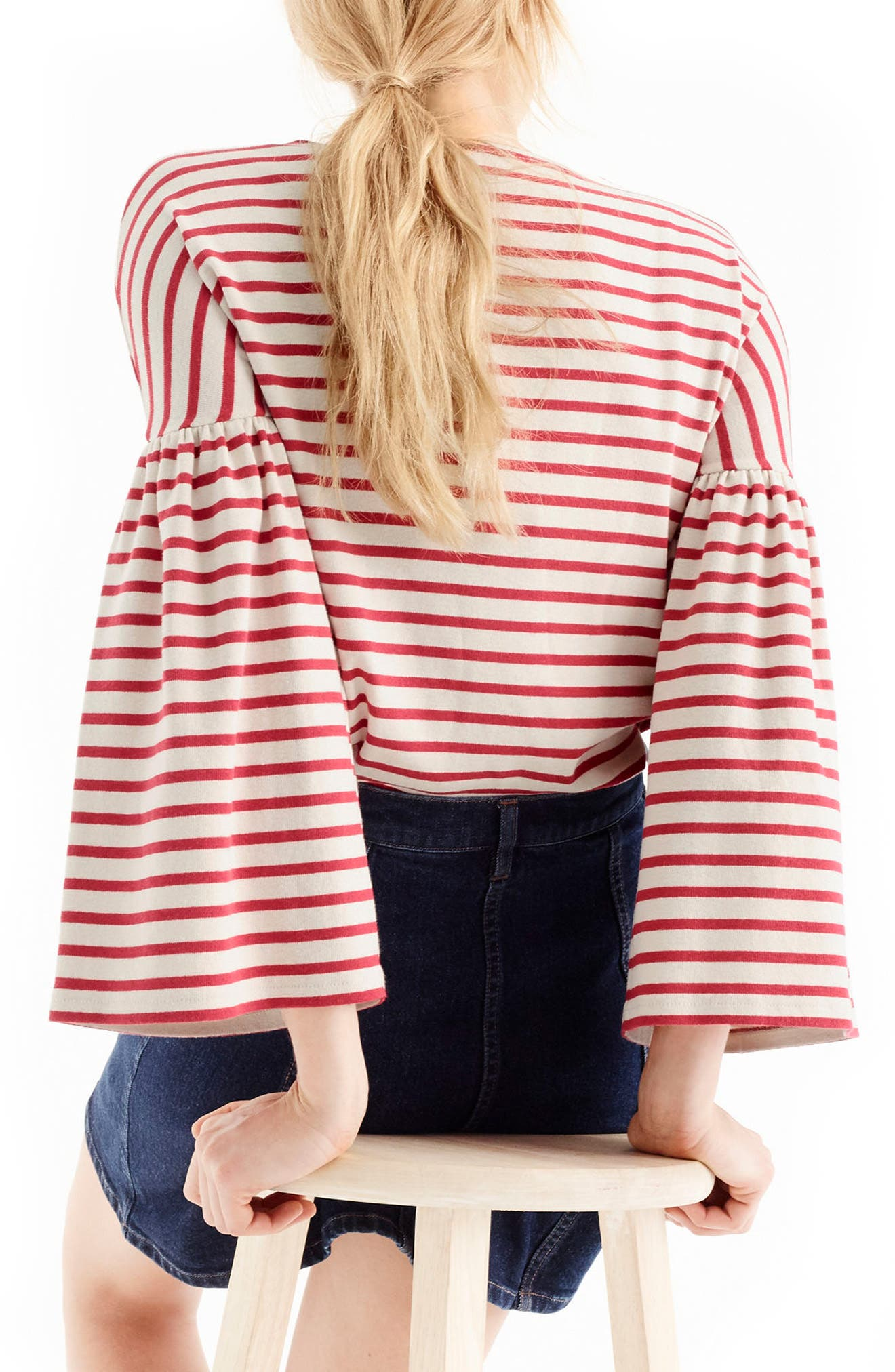 Bell Sleeve Stripe Tee,                             Alternate thumbnail 2, color,                             Palest Blush Poppy