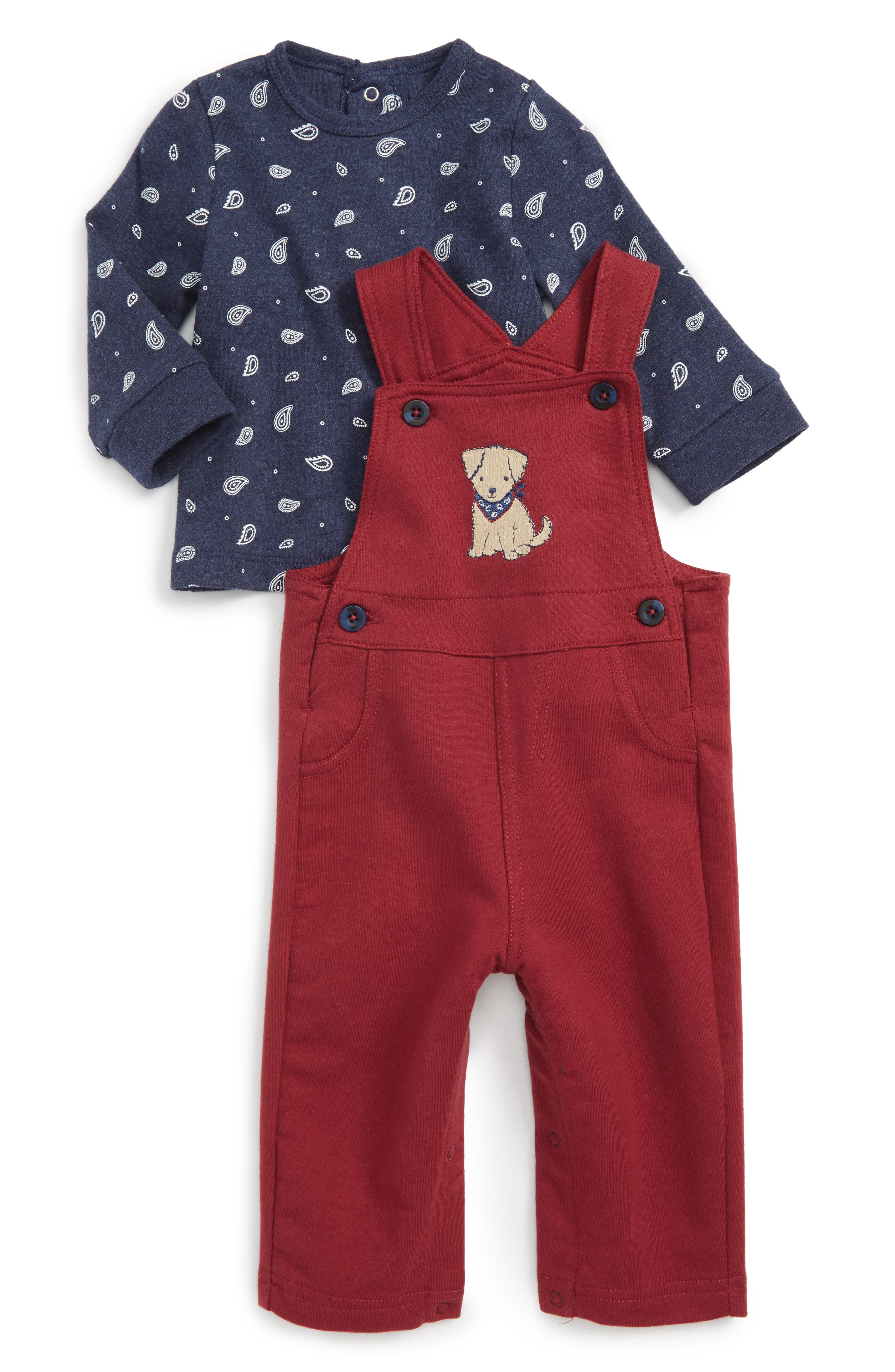 Little Me Puppy T-Shirt & Overalls Set (Baby Boys)