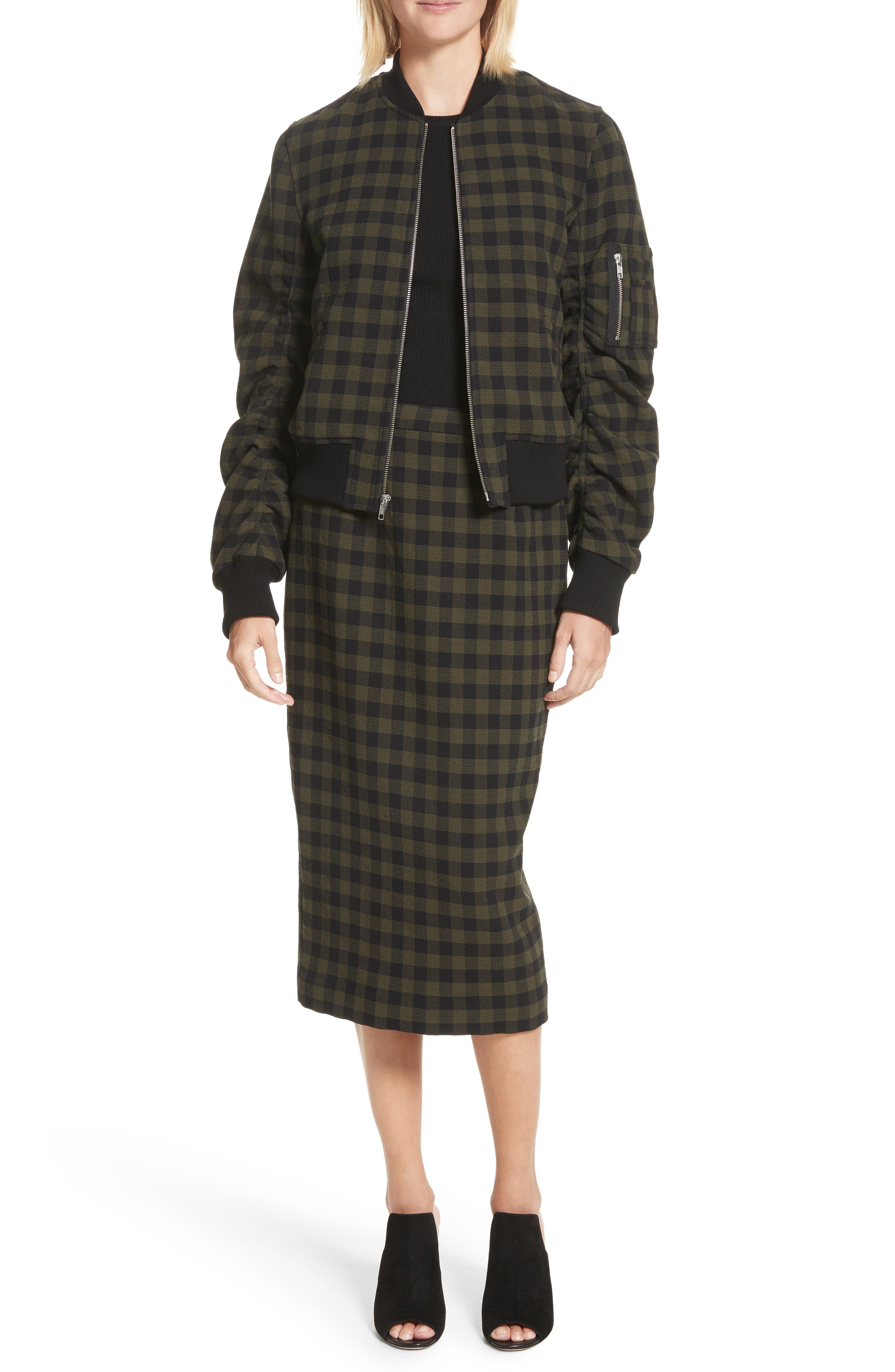Thea Plaid Wool Pencil Skirt,                             Alternate thumbnail 2, color,                             Army/ Black
