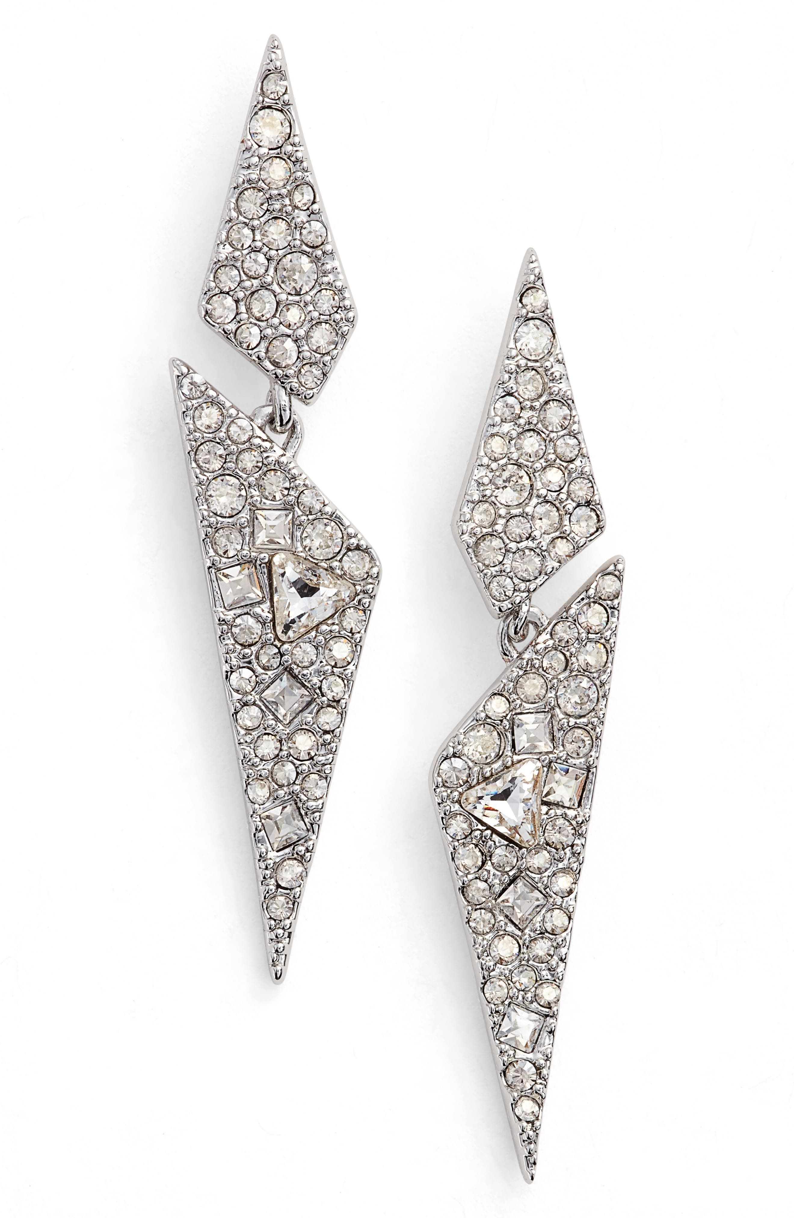 Crystal Encrusted Dangling Drop Earrings,                             Main thumbnail 1, color,                             Gold