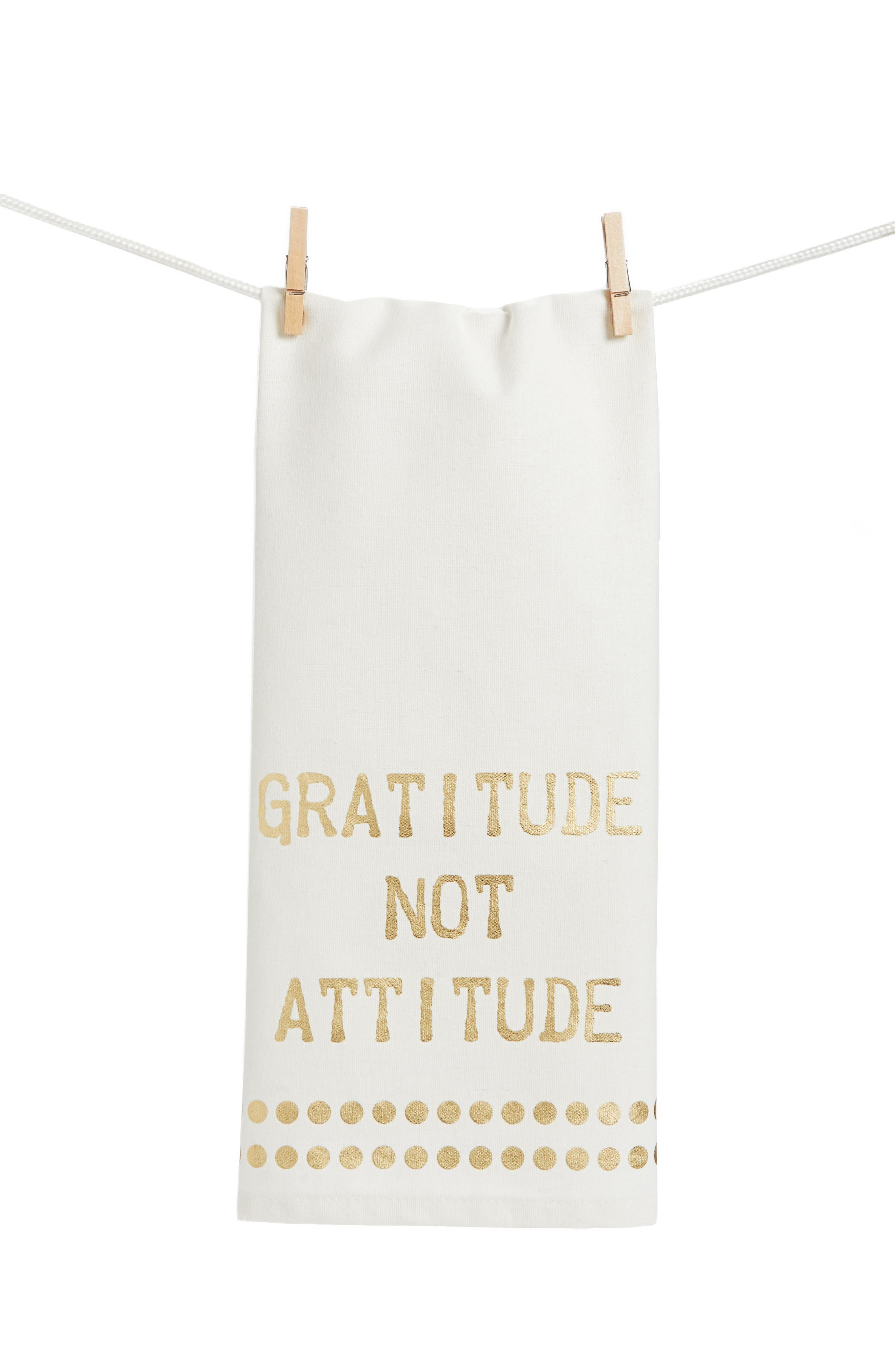 Gratitude Not Attitude Set of 2 Dish Towels,                             Main thumbnail 1, color,                             Gold